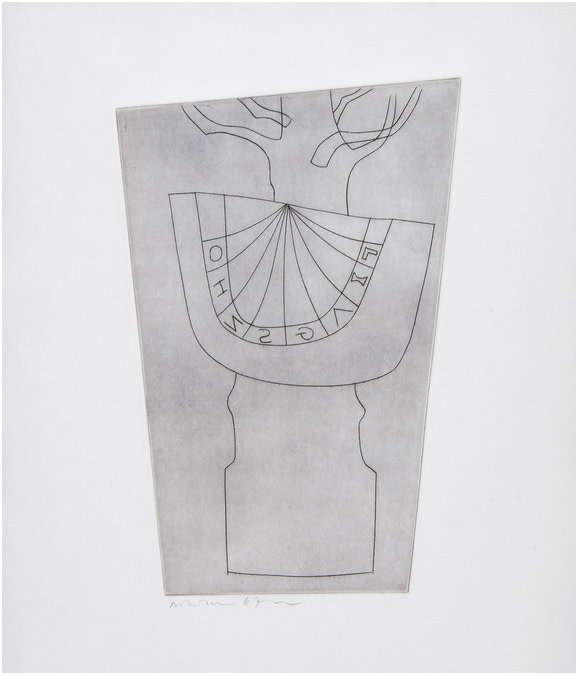 """<span class=""""link fancybox-details-link""""><a href=""""/artists/112-ben-nicholson-om/works/2519-ben-nicholson-om-turkish-sundial-and-tree-c.130-1967/"""">View Detail Page</a></span><div class=""""artist""""><strong>Ben Nicholson OM</strong></div> 1894–1982 <div class=""""title""""><em>Turkish Sundial and Tree (C.130)</em>, 1967</div> <div class=""""signed_and_dated"""">Signed, dated and numbered 49/50 in pencil to the margin</div> <div class=""""medium"""">Etching printed with a delicate plate tone on wove paper with full margins</div> <div class=""""dimensions"""">Plate size: 33 x 22.5 cm<br />13 x 8 7/8 inches<br /><br />Sheet size: 47 x 38 cm<br />18 1/2 x 15 inches</div> <div class=""""edition_details"""">49/50</div><div class=""""copyright_line"""">Copyright The Artist</div>"""