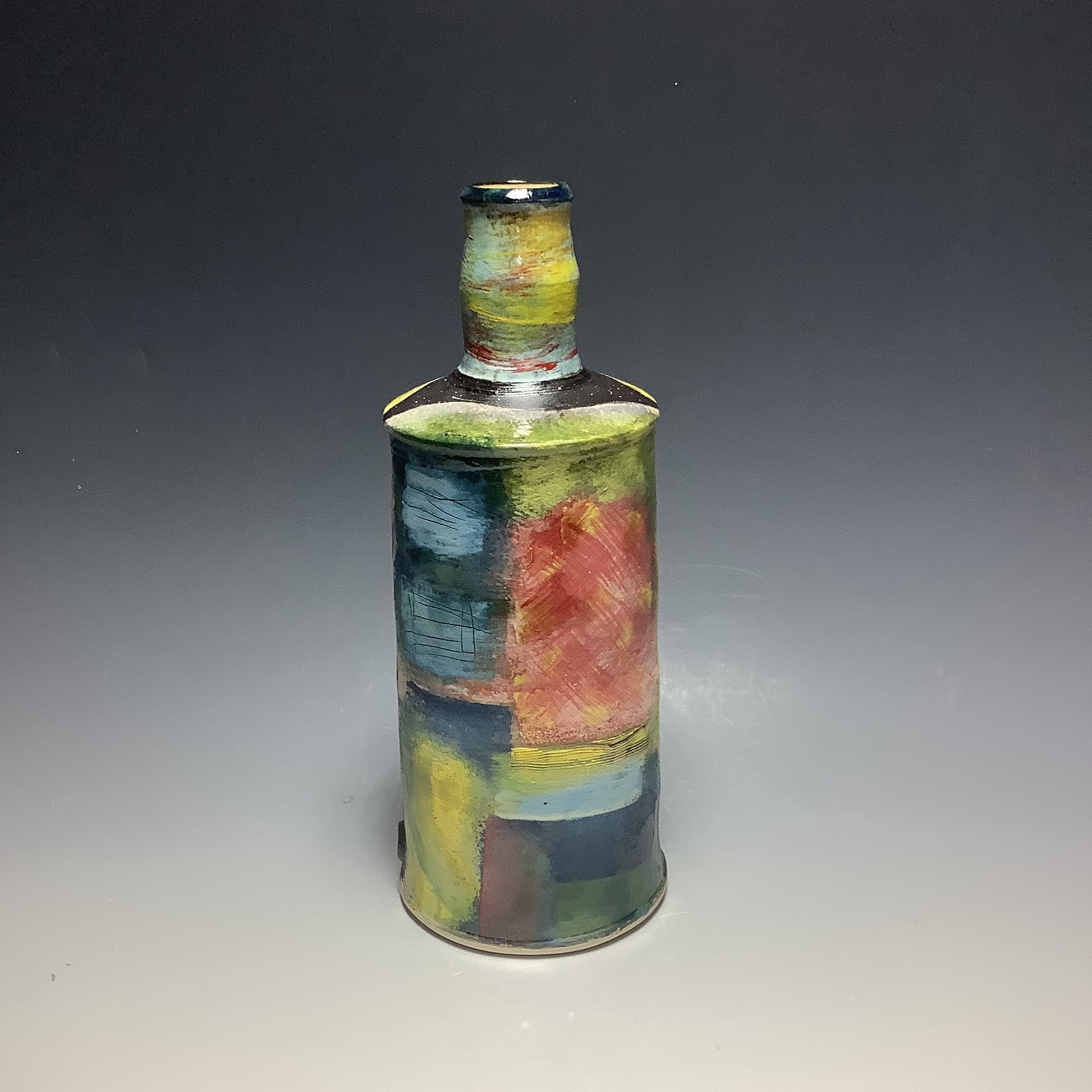 "<span class=""link fancybox-details-link""><a href=""/artists/100-john-pollex/works/6835-john-pollex-tall-bottle-2020/"">View Detail Page</a></span><div class=""artist""><strong>John Pollex</strong></div> b. 1941 <div class=""title""><em>Tall Bottle</em>, 2020</div> <div class=""signed_and_dated"">impressed with the artist's seal mark 'JP'</div> <div class=""medium"">white earthenware decorated with coloured slips</div> <div class=""dimensions"">h. 11 in</div><div class=""price"">£308.00</div><div class=""copyright_line"">Ownart: £30.80 x 10 Months, 0% APR</div>"