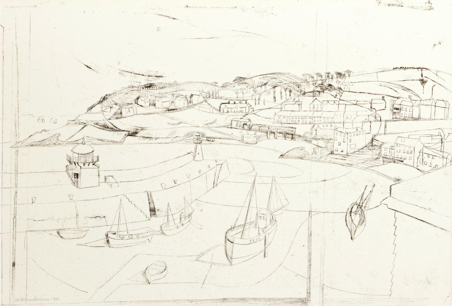 "<span class=""link fancybox-details-link""><a href=""/artists/133-wilhelmina-barns-graham-cbe/works/7316-wilhelmina-barns-graham-cbe-st-ives-1950/"">View Detail Page</a></span><div class=""artist""><strong>Wilhelmina Barns-Graham CBE</strong></div> 1912–2004 <div class=""title""><em>St Ives</em>, 1950</div> <div class=""signed_and_dated"">signed and dated in pencil </div> <div class=""medium"">monotype on wove paper</div> <div class=""dimensions"">sheet size: 39.8 x 59.5 cm</div> <div class=""edition_details"">monotype</div><div class=""copyright_line"">Copyright The Artist</div>"