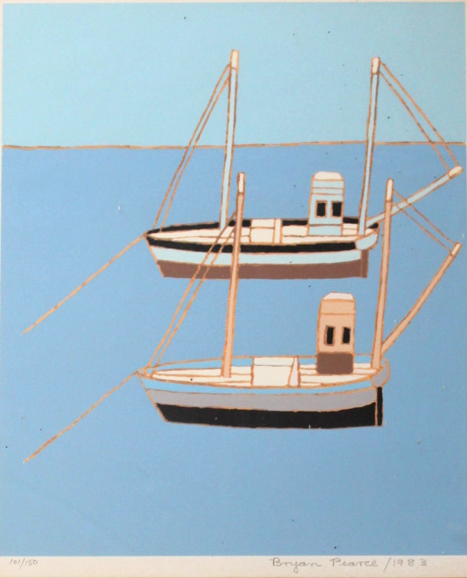 <span class=&#34;link fancybox-details-link&#34;><a href=&#34;/artists/85-bryan-pearce/works/5145-bryan-pearce-two-fishing-boats-1983/&#34;>View Detail Page</a></span><div class=&#34;artist&#34;><strong>Bryan Pearce</strong></div> 1929-2007 <div class=&#34;title&#34;><em>Two Fishing Boats</em>, 1983</div> <div class=&#34;signed_and_dated&#34;>signed, dated and numbered 101 /150</div> <div class=&#34;medium&#34;>silkscreen print on paper</div> <div class=&#34;dimensions&#34;>30.5 x 25.5 cm<br /> 12 1/8 x 10 1/8 in</div> <div class=&#34;edition_details&#34;>Edition number 101 of 150</div><div class=&#34;copyright_line&#34;>© The Estate of Bryan Pearce</div>