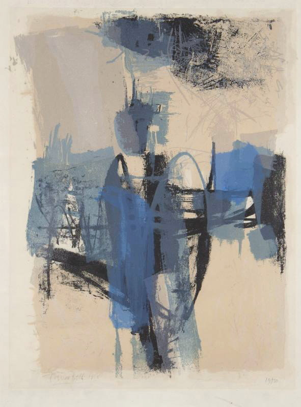 """<span class=""""link fancybox-details-link""""><a href=""""/artists/82-trevor-bell-ra/works/7153-trevor-bell-ra-untitled-1956/"""">View Detail Page</a></span><div class=""""artist""""><strong>Trevor Bell RA</strong></div> 1930–2017 <div class=""""title""""><em>Untitled</em>, 1956</div> <div class=""""signed_and_dated"""">signed, dated and numbered '19/30' in<br /> pencil </div> <div class=""""medium"""">lithograph in colours on wove paper</div> <div class=""""dimensions"""">49 x 36.5 cm</div> <div class=""""edition_details"""">edition of 30</div><div class=""""copyright_line"""">Copyright The Artist</div>"""