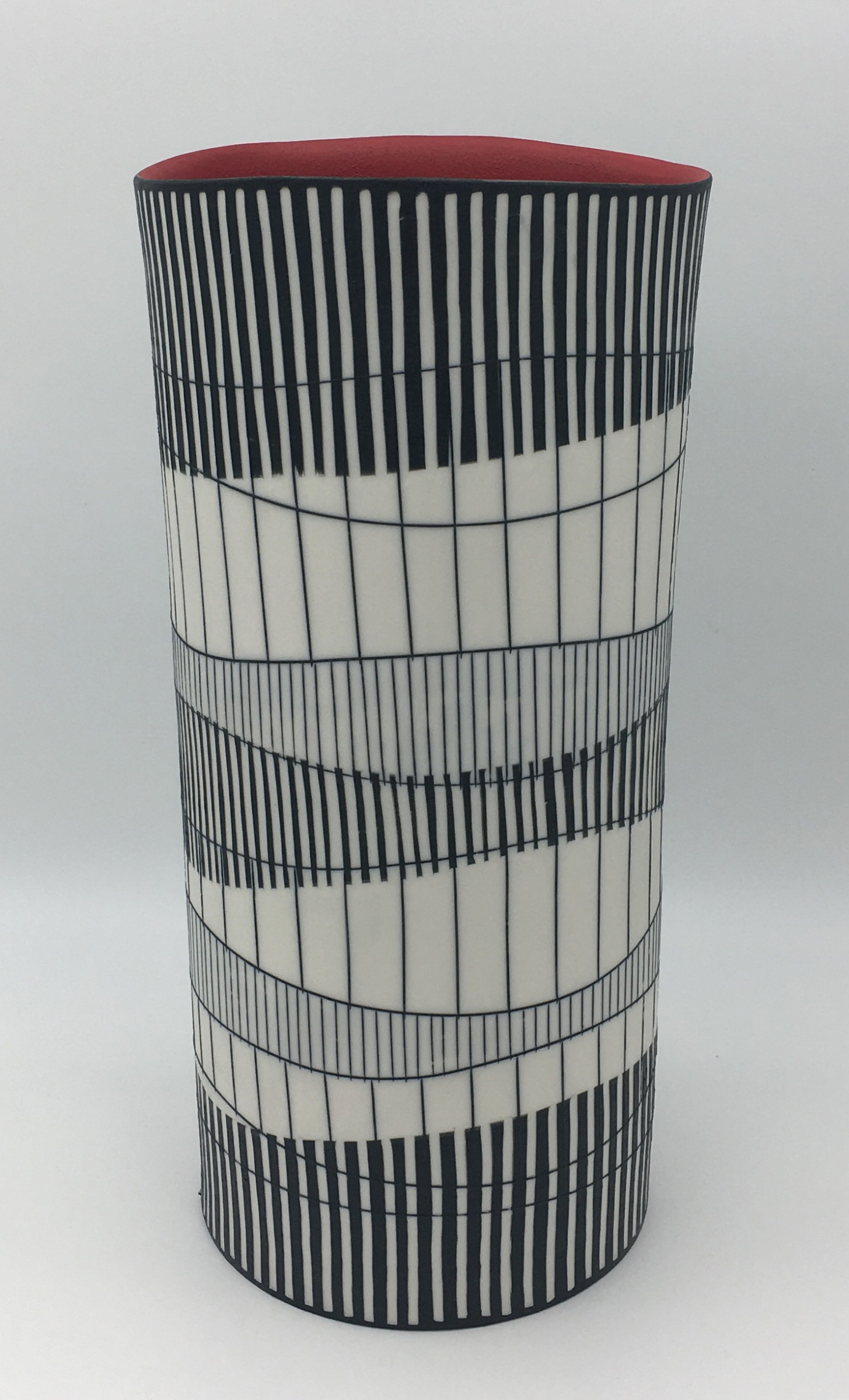 """<span class=""""link fancybox-details-link""""><a href=""""/artists/195-lara-scobie/works/6511-lara-scobie-large-tall-cylinder-vase-with-red-interior-2019/"""">View Detail Page</a></span><div class=""""artist""""><strong>Lara Scobie</strong></div> <div class=""""title""""><em>Large Tall Cylinder Vase with Red Interior</em>, 2019</div> <div class=""""medium"""">Porcelain</div><div class=""""price"""">£950.00</div><div class=""""copyright_line"""">Own Art: £75 x 10 Months, 0% APR</div>"""