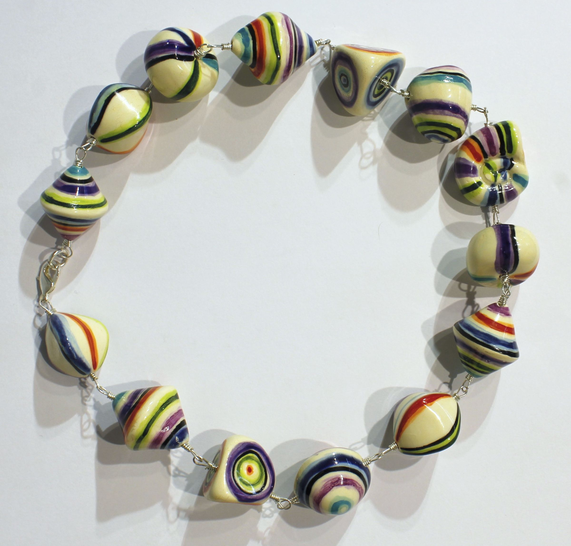 "<span class=""link fancybox-details-link""><a href=""/artists/146-elinor-lamond/works/4913-elinor-lamond-rainbow-striped-necklace-2017/"">View Detail Page</a></span><div class=""artist""><strong>Elinor Lamond</strong></div> <div class=""title""><em>Rainbow Striped Necklace </em>, 2017</div> <div class=""medium"">handmade ceramic beads</div><div class=""copyright_line"">Copyright The Artist</div>"