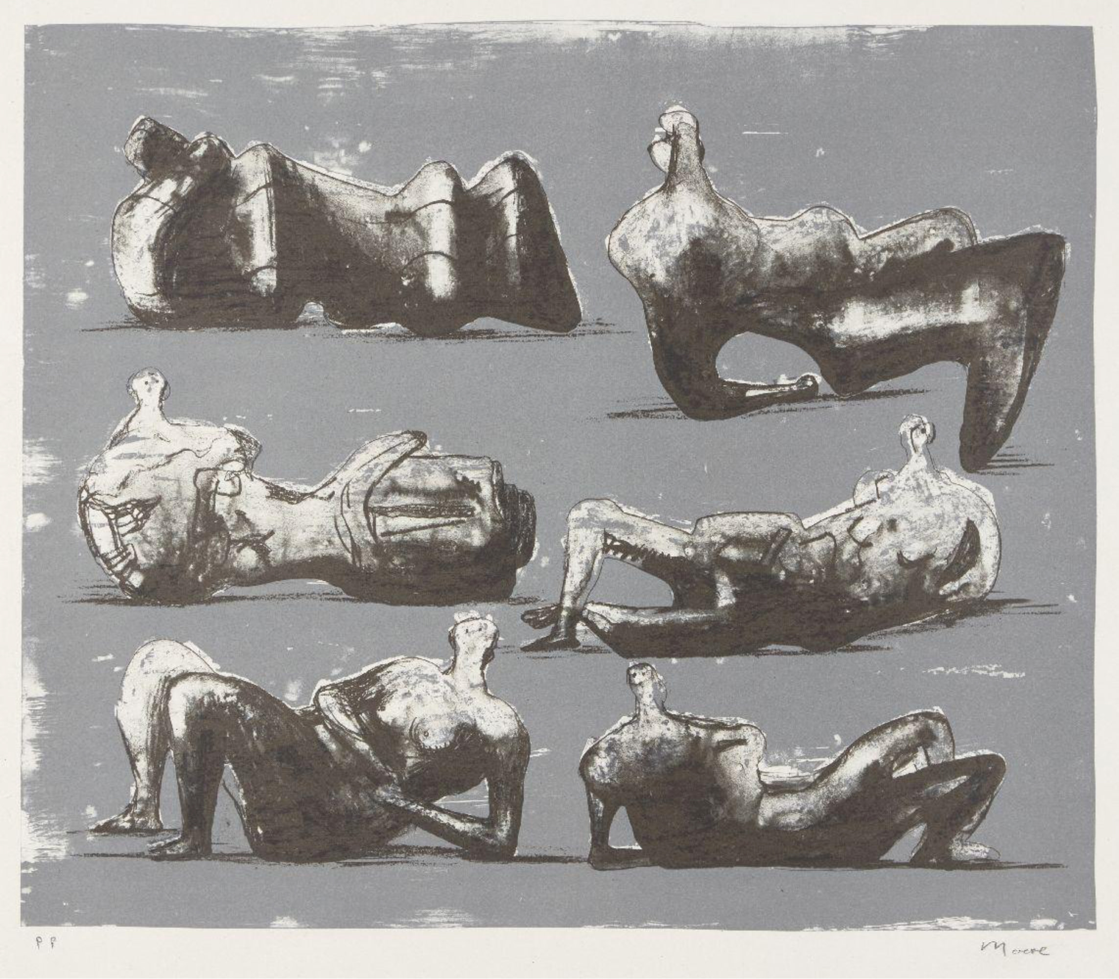 "<span class=""link fancybox-details-link""><a href=""/artists/111-henry-moore-om-ch/works/7309-henry-moore-om-ch-six-reclining-figures-cramer-298-1973/"">View Detail Page</a></span><div class=""artist""><strong>Henry Moore OM CH</strong></div> 1898–1986 <div class=""title""><em>Six Reclining Figures [Cramer 298]</em>, 1973</div> <div class=""signed_and_dated"">signed and inscribed 'P.P'</div> <div class=""medium"">lithograph in colours on T.H. Saunders wove paper<br /> a printer's proof aside from the edition of 100</div> <div class=""dimensions"">image size: 31.7 x 38.1 mm<br /> sheet size:  66.5 x 52 cm</div> <div class=""edition_details"">edition of 100</div><div class=""copyright_line"">Copyright The Artist</div>"