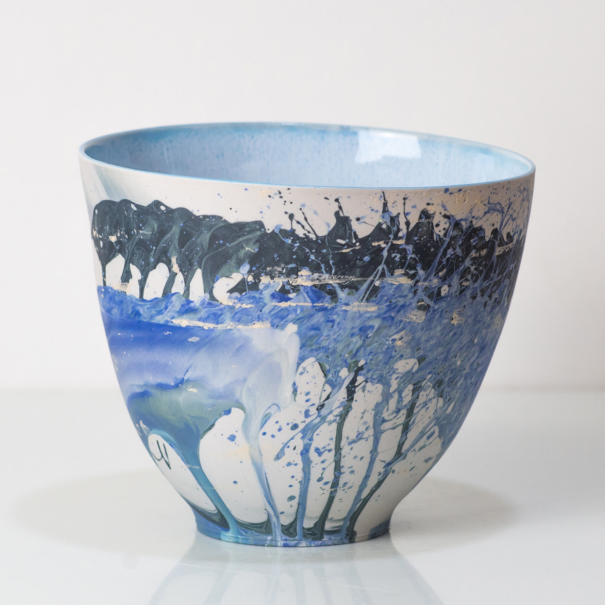 "<span class=""link fancybox-details-link""><a href=""/artists/219-james-pegg/works/6078-james-pegg-bowl-2019/"">View Detail Page</a></span><div class=""artist""><strong>James Pegg</strong></div> <div class=""title""><em>Bowl</em>, 2019</div> <div class=""medium"">action-cast stained porcelain with glazed interior</div> <div class=""dimensions"">h 13 cm, dia. 15 cm</div><div class=""copyright_line"">OwnArt: £ 14.50 x 10 Months, 0% APR </div>"