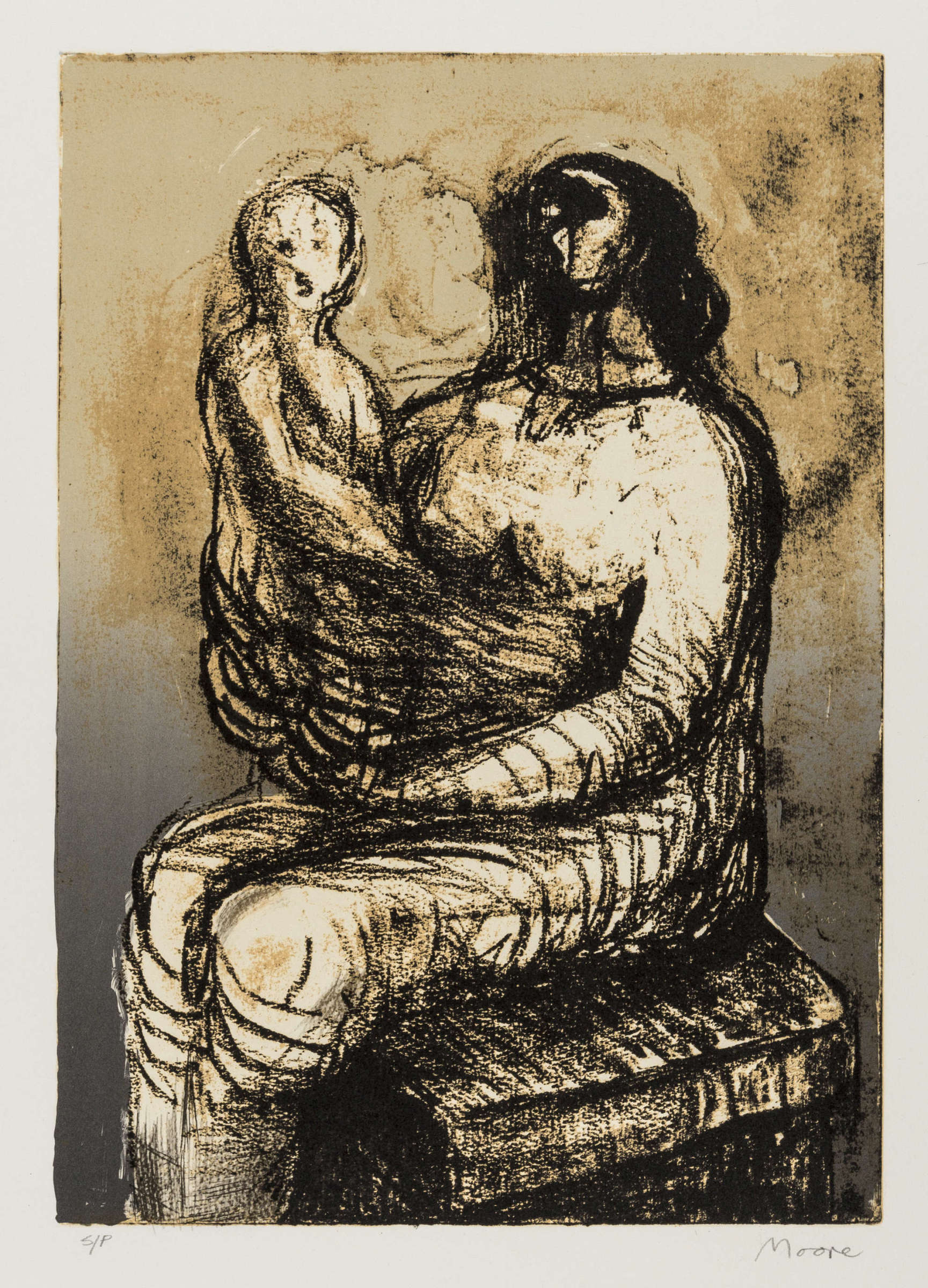 <span class=&#34;link fancybox-details-link&#34;><a href=&#34;/artists/111-henry-moore-om-ch/works/4878-henry-moore-om-ch-mother-with-child-on-lap-cramer-651-1982/&#34;>View Detail Page</a></span><div class=&#34;artist&#34;><strong>Henry Moore OM CH</strong></div> 1898–1986 <div class=&#34;title&#34;><em>Mother with Child on Lap (Cramer 651)</em>, 1982</div> <div class=&#34;signed_and_dated&#34;>signed and inscribed s/p in pencil</div> <div class=&#34;medium&#34;>lithograph printed in colours, with full margins</div> <div class=&#34;dimensions&#34;>sheet size: 63.1 x 50.8 cm<br /> 24 7/8 x 20 in</div> <div class=&#34;edition_details&#34;>a studio proof aside from the edition of 50</div><div class=&#34;copyright_line&#34;>@ The Estate of Henry Moore</div>