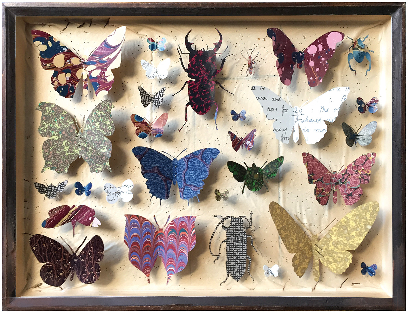 "<span class=""link fancybox-details-link""><a href=""/artists/142-helen-ward/works/6236-helen-ward-entomology-case-10-2019/"">View Detail Page</a></span><div class=""artist""><strong>Helen Ward</strong></div> <div class=""title""><em>Entomology Case 10</em>, 2019</div> <div class=""medium"">Victorian entomology drawer, hand-marbled papers, Victorian hand written letter, enamel pins</div> <div class=""dimensions"">29 x 39 cm</div><div class=""copyright_line"">Own Art: £ 59.50x 10 Monthly 0% APR Representative Payments</div>"