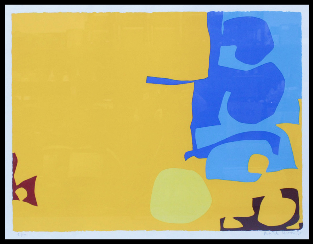 "<span class=""link fancybox-details-link""><a href=""/artists/93-patrick-heron-cbe/works/5119-patrick-heron-cbe-blues-dovetailed-in-yellow-april-1970-1970/"">View Detail Page</a></span><div class=""artist""><strong>Patrick Heron CBE</strong></div> 1920 – 1999 <div class=""title""><em>Blues Dovetailed in Yellow: April 1970</em>, 1970</div> <div class=""signed_and_dated"">signed 'Patrick Heron' and dated in pencil, lower right</div> <div class=""medium"">silkscreen printed in colours on wove paper, with full margins</div> <div class=""dimensions"">image size: 59.5 x 78 cm <br /> 23 3/8 x 30 3/4 in<br /> sheet size: 71.8 x 101.6 cm <br /> 28 1/4 x 40 in</div> <div class=""edition_details"">edition number 8 of 100</div><div class=""copyright_line"">© The Estate of Patrick Heron</div>"