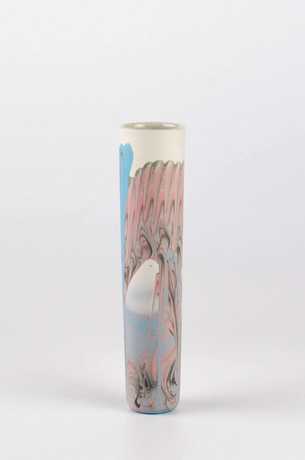 "<span class=""link fancybox-details-link""><a href=""/artists/219-james-pegg/works/6577-james-pegg-boubouki-budvase-2019/"">View Detail Page</a></span><div class=""artist""><strong>James Pegg</strong></div> <div class=""title""><em>Boubouki Budvase</em>, 2019</div> <div class=""medium"">action-cast stained porcelain with glazed interior</div><div class=""price"">£42.00</div>"