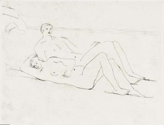 <span class=&#34;link fancybox-details-link&#34;><a href=&#34;/artists/111-henry-moore-om-ch/works/2637-henry-moore-om-ch-reclining-figures-on-beach-1975/&#34;>View Detail Page</a></span><div class=&#34;artist&#34;><strong>Henry Moore OM CH</strong></div> 1898–1986 <div class=&#34;title&#34;><em>Reclining Figures on Beach</em>, 1975</div> <div class=&#34;signed_and_dated&#34;>Signed in pencil and inscribed 'For Michael Rand' to margin</div> <div class=&#34;medium&#34;>Etching on Rives paper with Artist's watermark and full margins</div> <div class=&#34;dimensions&#34;>Plate size: 17.2 x 22.5 cm<br />6 3/4 x 8 7/8 inches<br /><br />Sheet size: 31 x 36.3 cm<br />12 1/4 x 14 1/4 inches</div> <div class=&#34;edition_details&#34;>One of 15 proofs aside from the edition of 50</div><div class=&#34;copyright_line&#34;>Copyright The Artist</div>