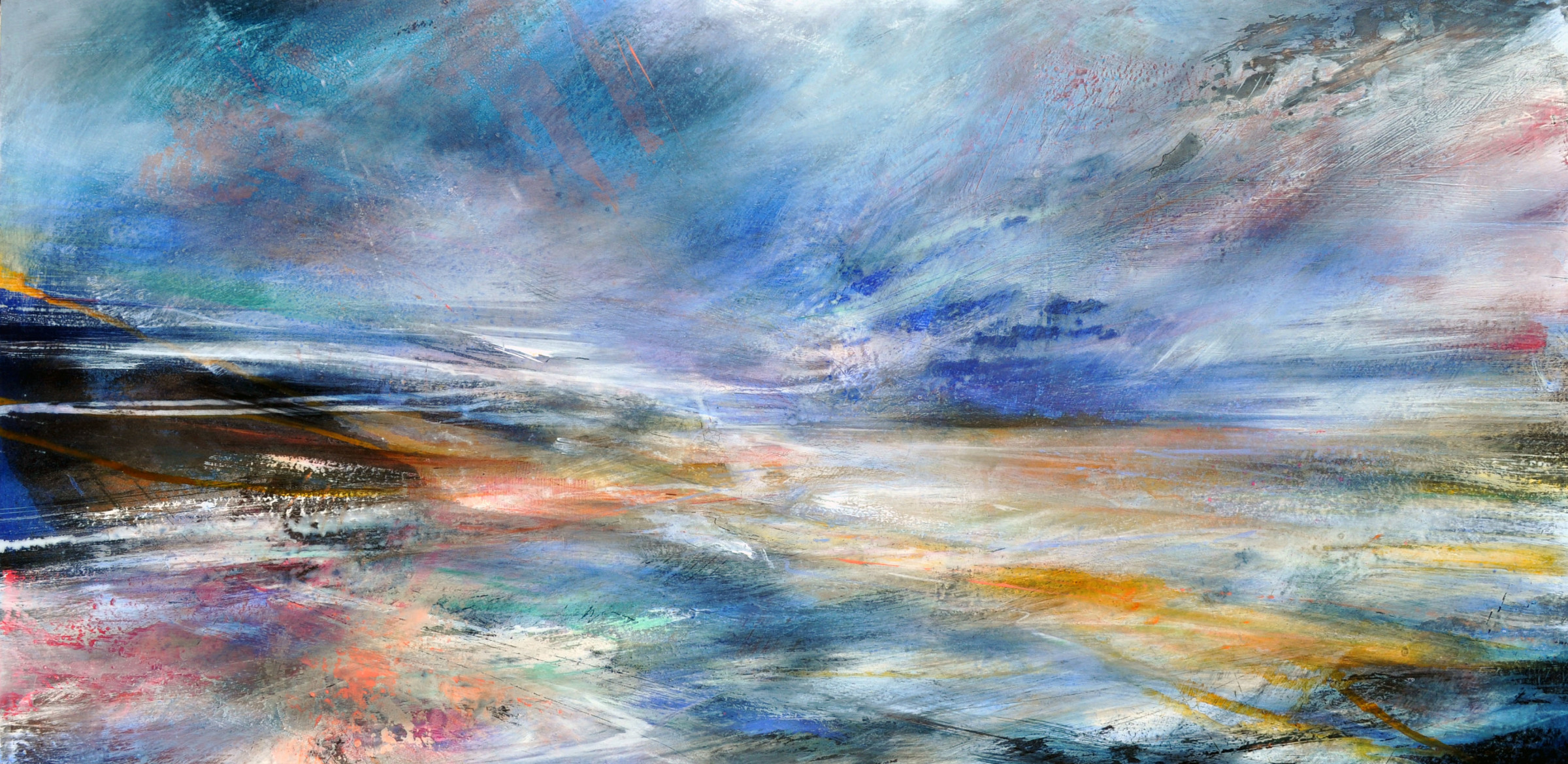 """<span class=""""link fancybox-details-link""""><a href=""""/artists/90-freya-horsley/works/5536-freya-horsley-drift-through-2018/"""">View Detail Page</a></span><div class=""""artist""""><strong>Freya Horsley</strong></div> <div class=""""title""""><em>Drift Through</em>, 2018</div> <div class=""""signed_and_dated"""">signed on reverse</div> <div class=""""medium"""">mixed media on board</div> <div class=""""dimensions"""">59 x 120 cm<br /> 23 1/4 x 47 1/4 inches</div><div class=""""copyright_line"""">£ 175 x 10 Months, OwnArt 0% APR</div>"""