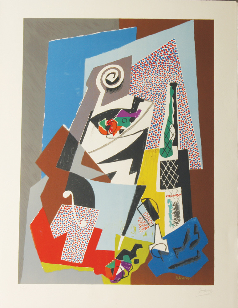 """<span class=""""link fancybox-details-link""""><a href=""""/artists/210-gino-severini/works/5815-gino-severini-natura-morta-con-violino-still-life-with-violin-1964-65/"""">View Detail Page</a></span><div class=""""artist""""><strong>Gino Severini</strong></div> 1883–1966 <div class=""""title""""><em>Natura Morta con Violino (Still Life with Violin) plate 8</em>, 1964/65</div> <div class=""""signed_and_dated"""">signed and numbered 6/65<br /> </div> <div class=""""medium"""">lithograph in colours on Arches paper</div> <div class=""""dimensions"""">65 x 50 cm</div> <div class=""""edition_details"""">Edition number 6 of 65, aside from 9 Artist's Proofs</div><div class=""""copyright_line"""">© The Estate of Gino Severini</div>"""