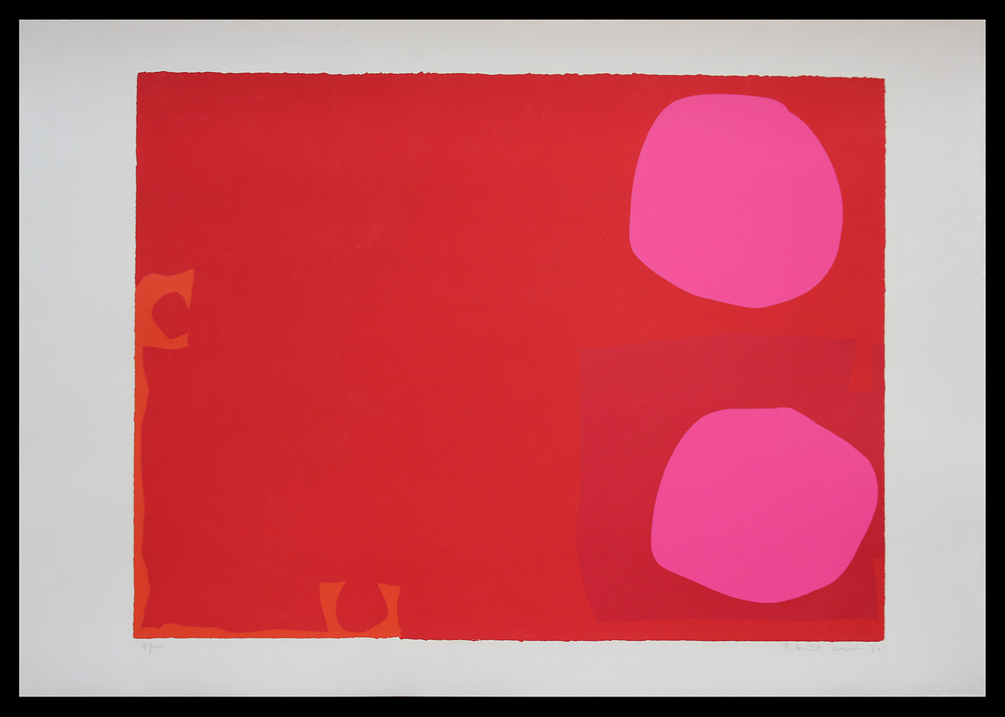 "<span class=""link fancybox-details-link""><a href=""/artists/93-patrick-heron-cbe/works/4047-patrick-heron-cbe-two-pink-discs-in-dark-reds-april-1970-1970/"">View Detail Page</a></span><div class=""artist""><strong>Patrick Heron CBE</strong></div> 1920 – 1999 <div class=""title""><em>Two Pink Discs in Dark Reds: April 1970</em>, 1970</div> <div class=""signed_and_dated"">signed, dated and editioned in pencil</div> <div class=""medium"">silkscreen print in colours on wove paper, with full margins</div> <div class=""dimensions"">image: 60 x 78.5 cm (23 5/8 x 30 7/8 in.)<br /> sheet: 71 x 101 cm (28 x 39 3/4 in.)</div> <div class=""edition_details"">Edition 8 of 100</div><div class=""copyright_line"">© The Estate of Patrick Heron</div>"