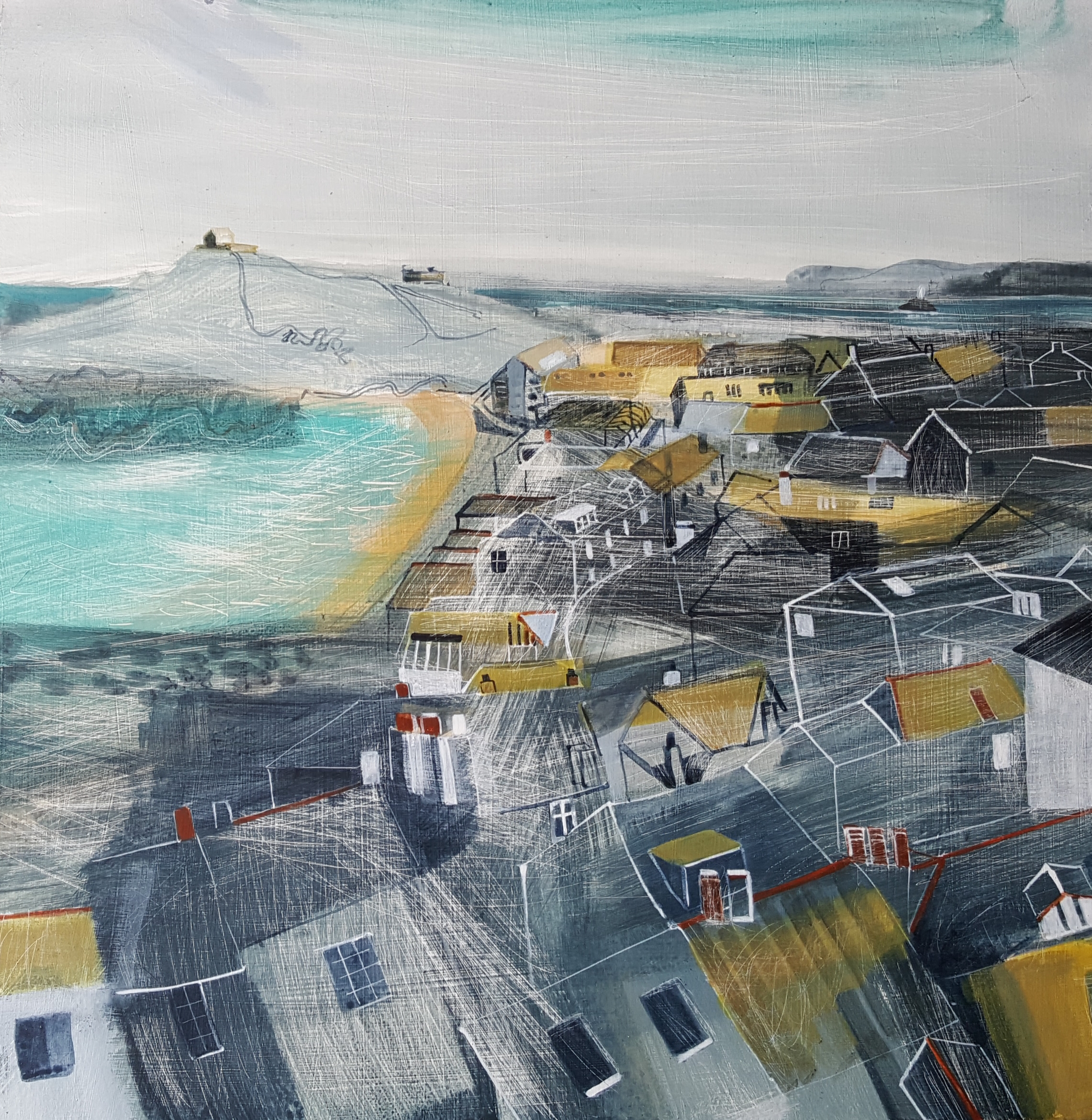 <span class=&#34;link fancybox-details-link&#34;><a href=&#34;/artists/177-jane-askey/works/5519-jane-askey-windswept-porthmeor-and-st-ives-rooftops-2018/&#34;>View Detail Page</a></span><div class=&#34;artist&#34;><strong>Jane Askey</strong></div> <div class=&#34;title&#34;><em>Windswept Porthmeor and St Ives Rooftops</em>, 2018</div> <div class=&#34;signed_and_dated&#34;>signed</div> <div class=&#34;medium&#34;>mixed media on gesso board</div> <div class=&#34;dimensions&#34;>59 x 59 cm<br /> 23 1/4 x 23 1/4 inches</div><div class=&#34;copyright_line&#34;>OwnArt: £ 69.50 x 10 Months, 0% APR</div>