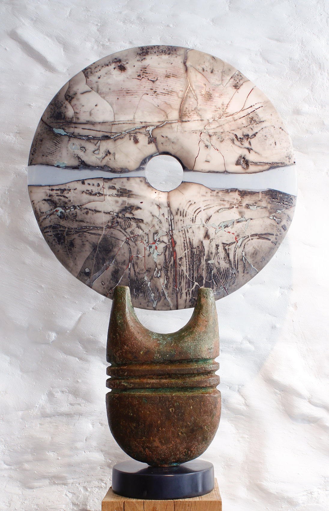 <span class=&#34;link fancybox-details-link&#34;><a href=&#34;/artists/40-peter-hayes/works/5647-peter-hayes-raku-disc-on-bronze-base-2018/&#34;>View Detail Page</a></span><div class=&#34;artist&#34;><strong>Peter Hayes</strong></div> <div class=&#34;title&#34;><em>Raku Disc on Bronze Base</em>, 2018</div> <div class=&#34;signed_and_dated&#34;>signed on base</div> <div class=&#34;medium&#34;>stoneware</div> <div class=&#34;dimensions&#34;>81.3 x 48.3 cm<br /> 32 x 19 inches</div><div class=&#34;copyright_line&#34;>OwnArt: £ 225 x 10 Months, 0% APR</div>
