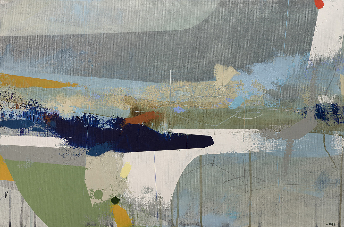 """<span class=""""link fancybox-details-link""""><a href=""""/artists/77-andrew-bird/works/6198-andrew-bird-inconstant-2019/"""">View Detail Page</a></span><div class=""""artist""""><strong>Andrew Bird</strong></div> <div class=""""title""""><em>Inconstant</em>, 2019</div> <div class=""""signed_and_dated"""">signed, titled and dated on reverse</div> <div class=""""medium"""">acrylic on canvas</div> <div class=""""dimensions"""">h 50.5 x w 76.5 cm<br /> 19 7/8 x 30 1/8 in</div><div class=""""price"""">£1,600.00</div><div class=""""copyright_line"""">Own Art: £ 160 x 10 Months, 0% APR</div>"""