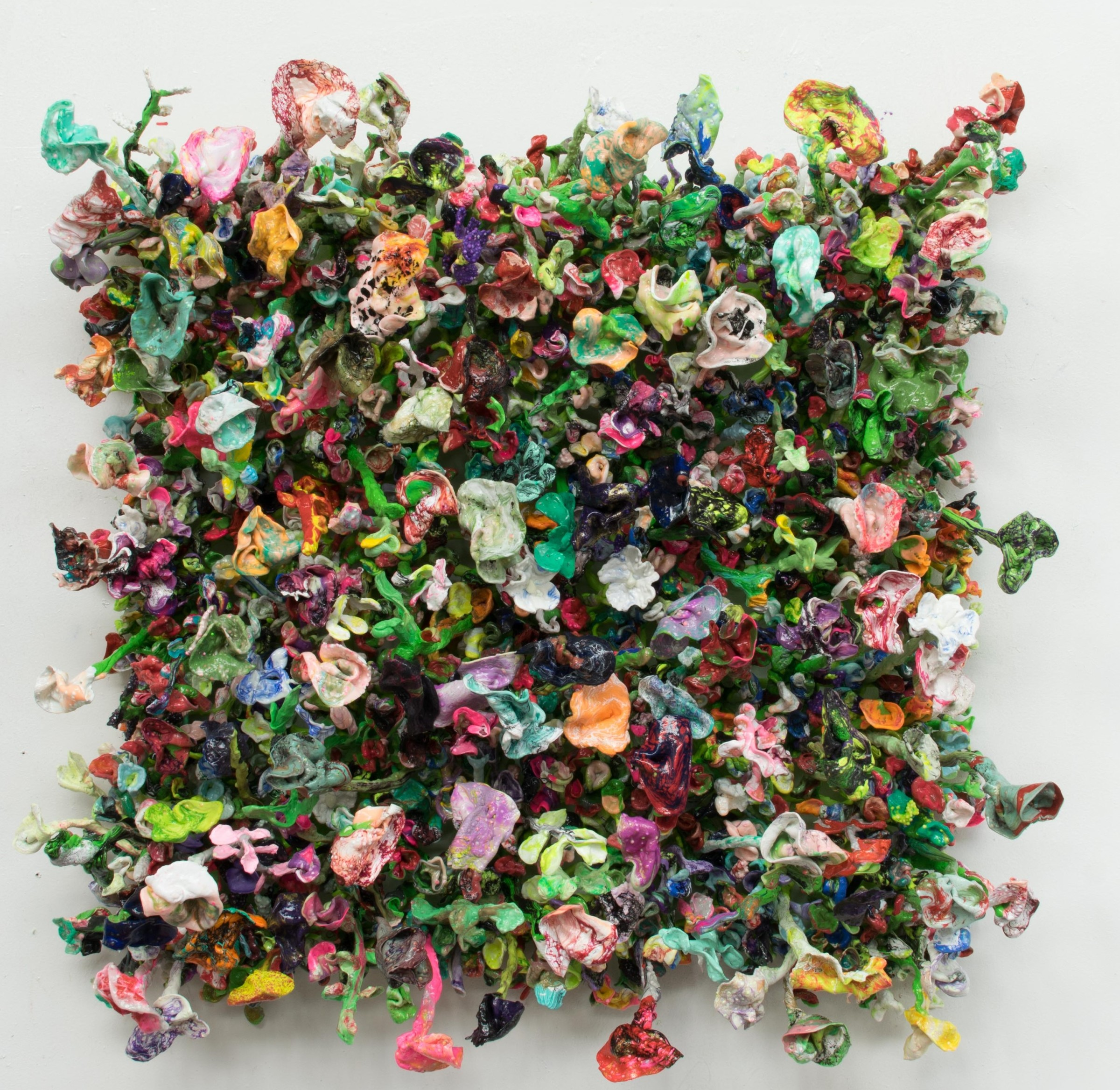 "<span class=""link fancybox-details-link""><a href=""/artists/42-stefan-gross/works/5000-stefan-gross-flower-bonanza-green-2018/"">View Detail Page</a></span><div class=""artist""><strong>Stefan Gross</strong></div> <div class=""title""><em>Flower Bonanza - green</em>, 2018</div> <div class=""medium"">Oil Plastic</div> <div class=""dimensions"">100 x 100 cm</div>"