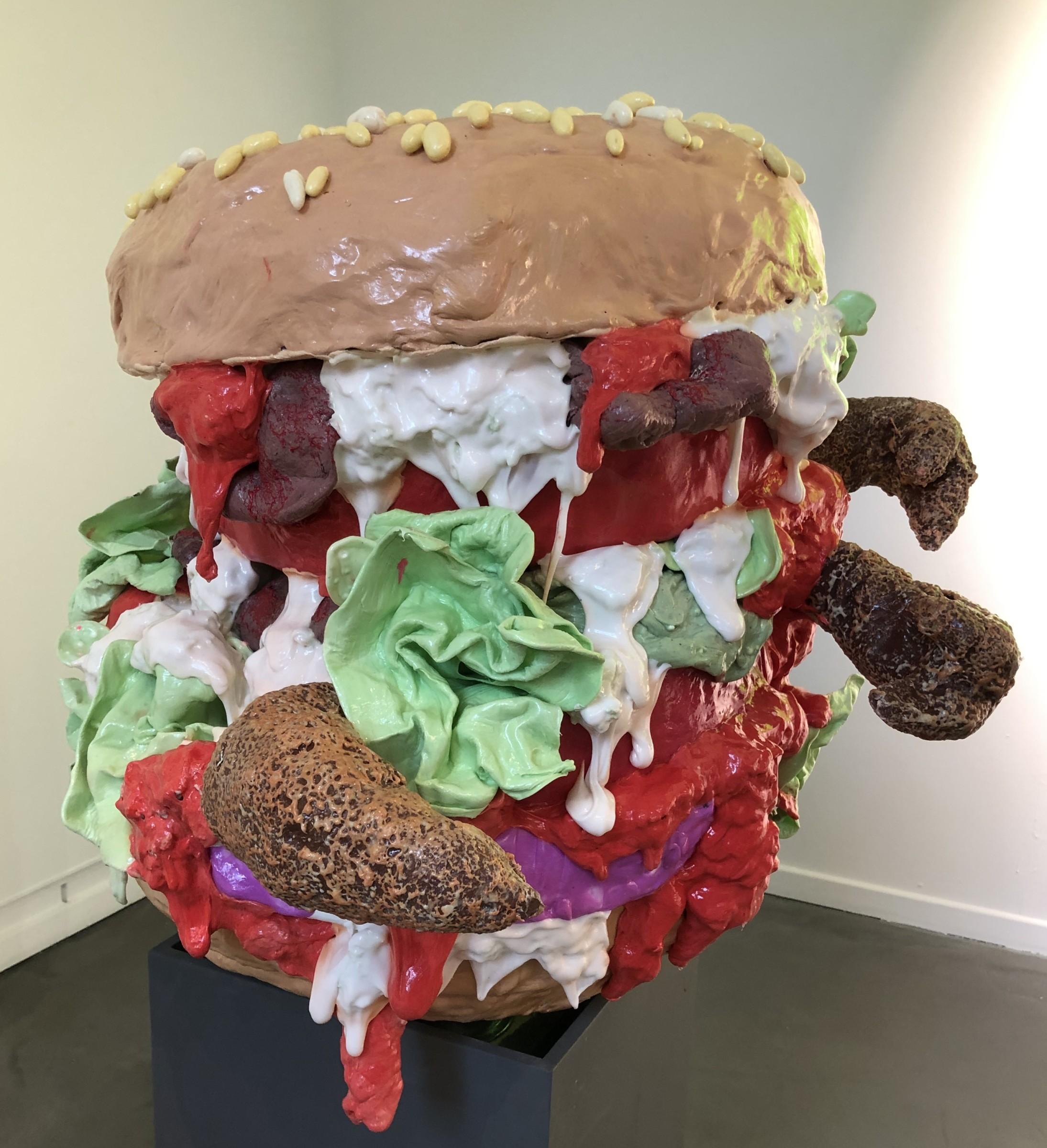 """<span class=""""link fancybox-details-link""""><a href=""""/artists/42-stefan-gross/works/5628-stefan-gross-hamburger-2019/"""">View Detail Page</a></span><div class=""""artist""""><strong>Stefan Gross</strong></div> <div class=""""title""""><em>Hamburger</em>, 2019</div> <div class=""""medium"""">Oil plastic</div> <div class=""""dimensions"""">123 x 100 cm</div><div class=""""price"""">€6,500.00</div>"""