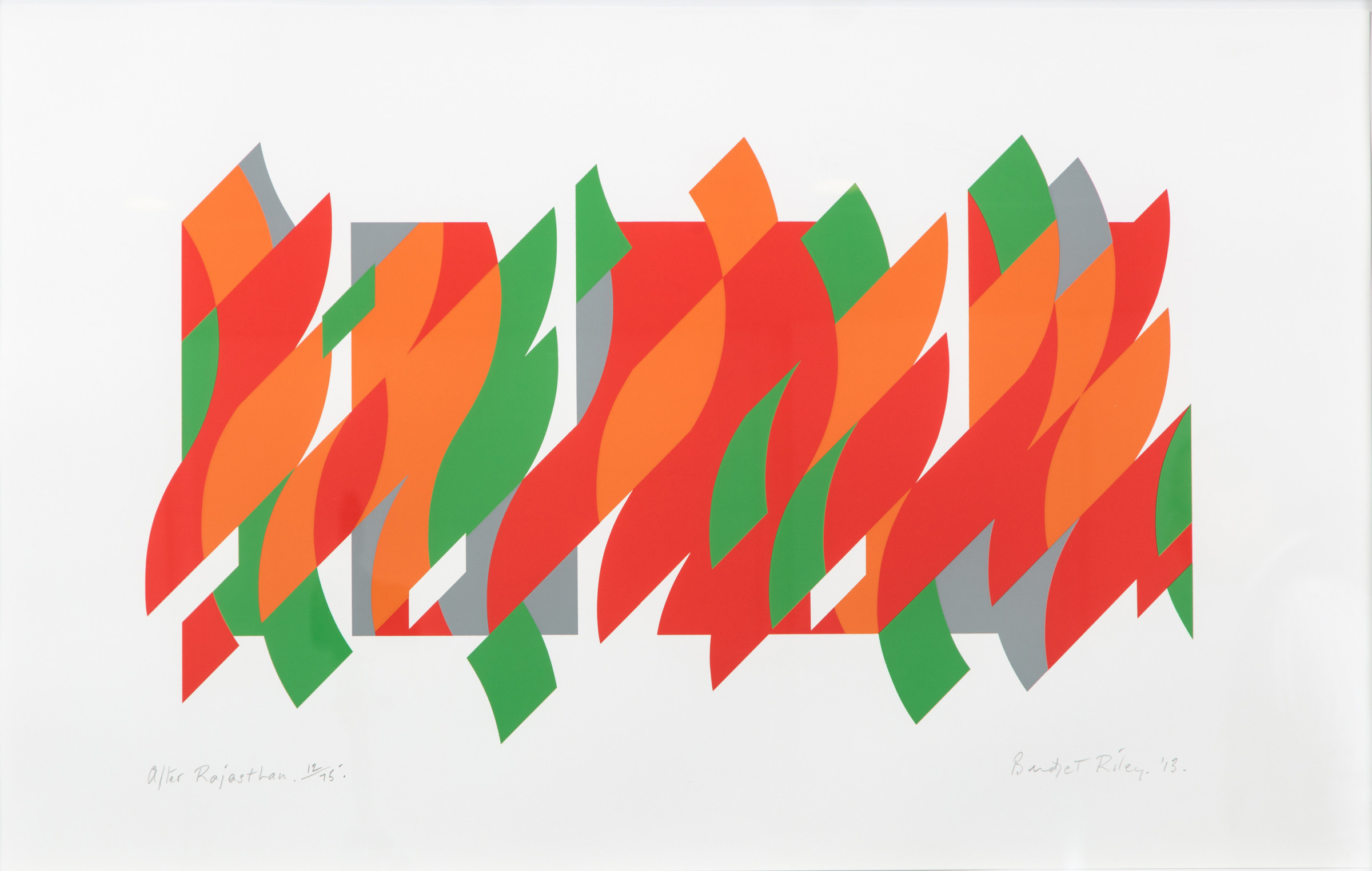 "<span class=""link fancybox-details-link""><a href=""/artists/72-bridget-riley/works/966/"">View Detail Page</a></span><div class=""artist""><strong>Bridget Riley</strong></div> b. 1931 <div class=""title""><em>After Rajasthan</em>, 2013</div> <div class=""signed_and_dated"">signed and dated in pencil<br /> from the edition of 75</div> <div class=""medium"">screenprint</div> <div class=""dimensions"">58.5 x 93.3cm</div> <div class=""edition_details""></div><div class=""copyright_line"">Copyright The Artist</div>"