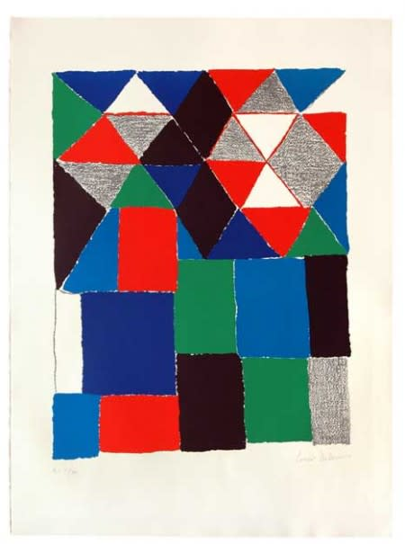 """<span class=""""link fancybox-details-link""""><a href=""""/artists/39-sonia-delaunay/works/432/"""">View Detail Page</a></span><div class=""""artist""""><strong>Sonia Delaunay</strong></div> 1885 - 1979 <div class=""""title""""><em>Scottish</em>, 1970</div> <div class=""""signed_and_dated"""">Signed (HC V/XV)</div> <div class=""""medium"""">lithograph on arches paper</div> <div class=""""dimensions"""">29 1/2 x 22 1/8 in<br /> 75 x 56 cm</div><div class=""""copyright_line"""">Copyright The Artist</div>"""