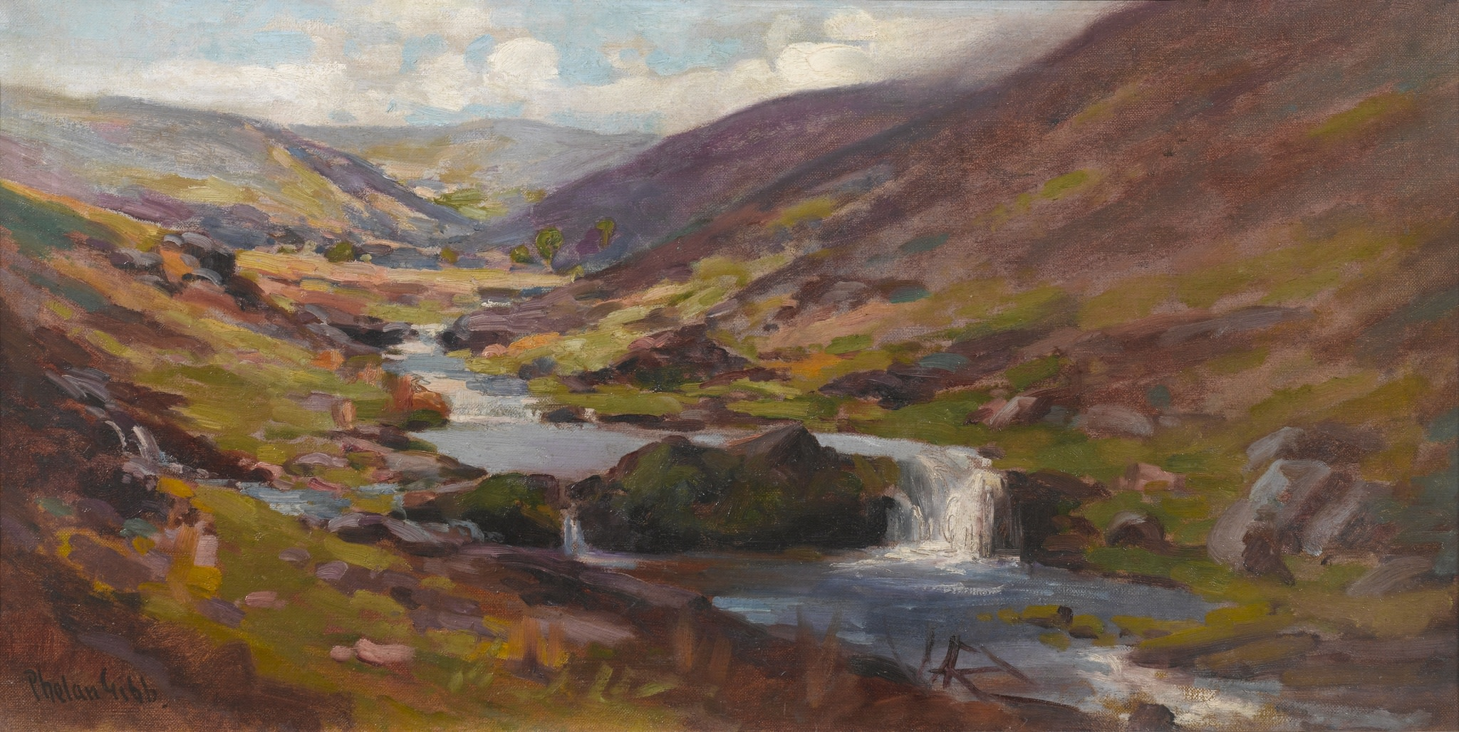 "<span class=""link fancybox-details-link""><a href=""/artists/27-harry-phelan-gibb/works/10/"">View Detail Page</a></span><div class=""artist""><strong>Harry Phelan Gibb</strong></div> 1870 - 1948 <div class=""title""><em>Chalk Stream nr Brendon</em>, c.1918</div> <div class=""signed_and_dated"">signed lower left</div> <div class=""medium"">Oil on Canvas</div> <div class=""dimensions"">11 1/2 x 18 3/4 in<br />29.5 x 47.5 cm</div>"