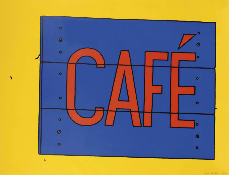 """<span class=""""link fancybox-details-link""""><a href=""""/artists/73-patrick-caulfield/works/1002/"""">View Detail Page</a></span><div class=""""artist""""><strong>Patrick Caulfield</strong></div> 1936 - 2005 <div class=""""title""""><em>Café</em>, 1968</div> <div class=""""signed_and_dated"""">signed in pencil</div> <div class=""""medium"""">screenprint<br /> from the edition of 75</div> <div class=""""dimensions"""">71 X 93.2cm</div>"""