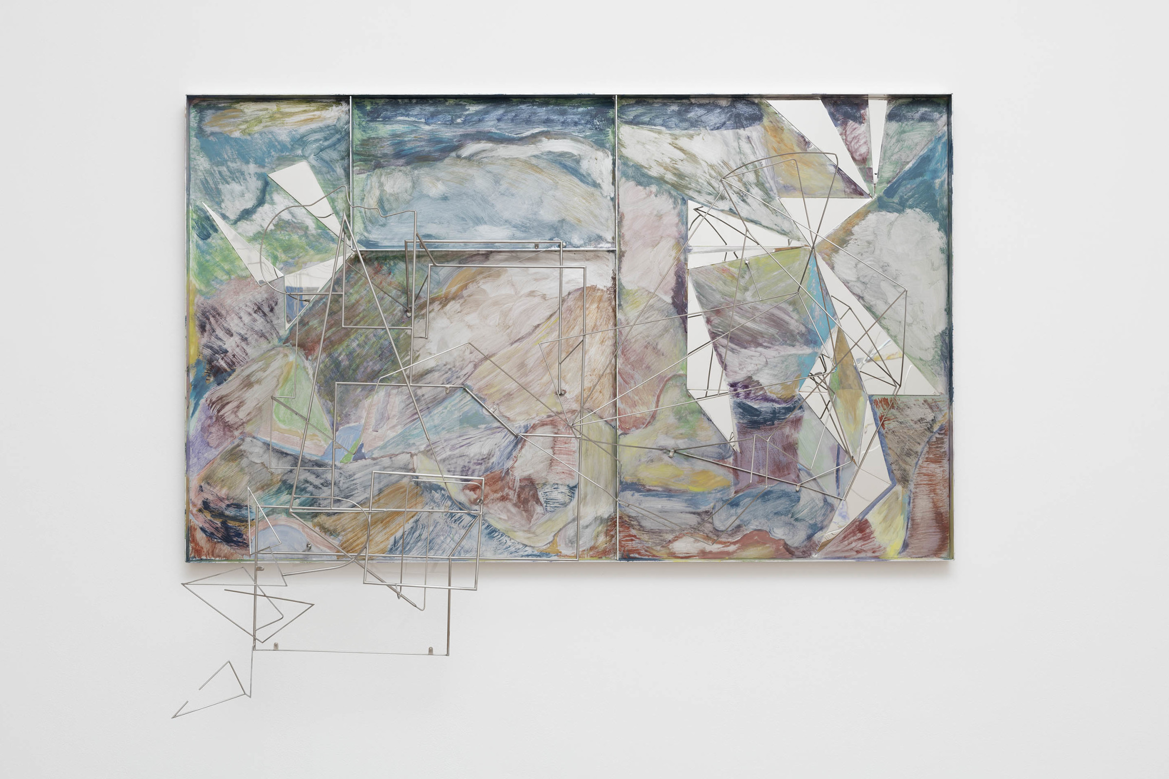 <span class=&#34;link fancybox-details-link&#34;><a href=&#34;/exhibitions/7/works/artworks318/&#34;>View Detail Page</a></span><div class=&#34;artist&#34;><strong>Sara Barker</strong></div><p>born 1980</p><div class=&#34;title&#34;><em>Hour-watching silver and exact, water is in water, within within within</em>, 2017</div><div class=&#34;medium&#34;>Aluminium sheet, mirrored steel, stainless steel rod, automotive paint Panel</div><div class=&#34;dimensions&#34;>106 x 174 x 42cm</div>