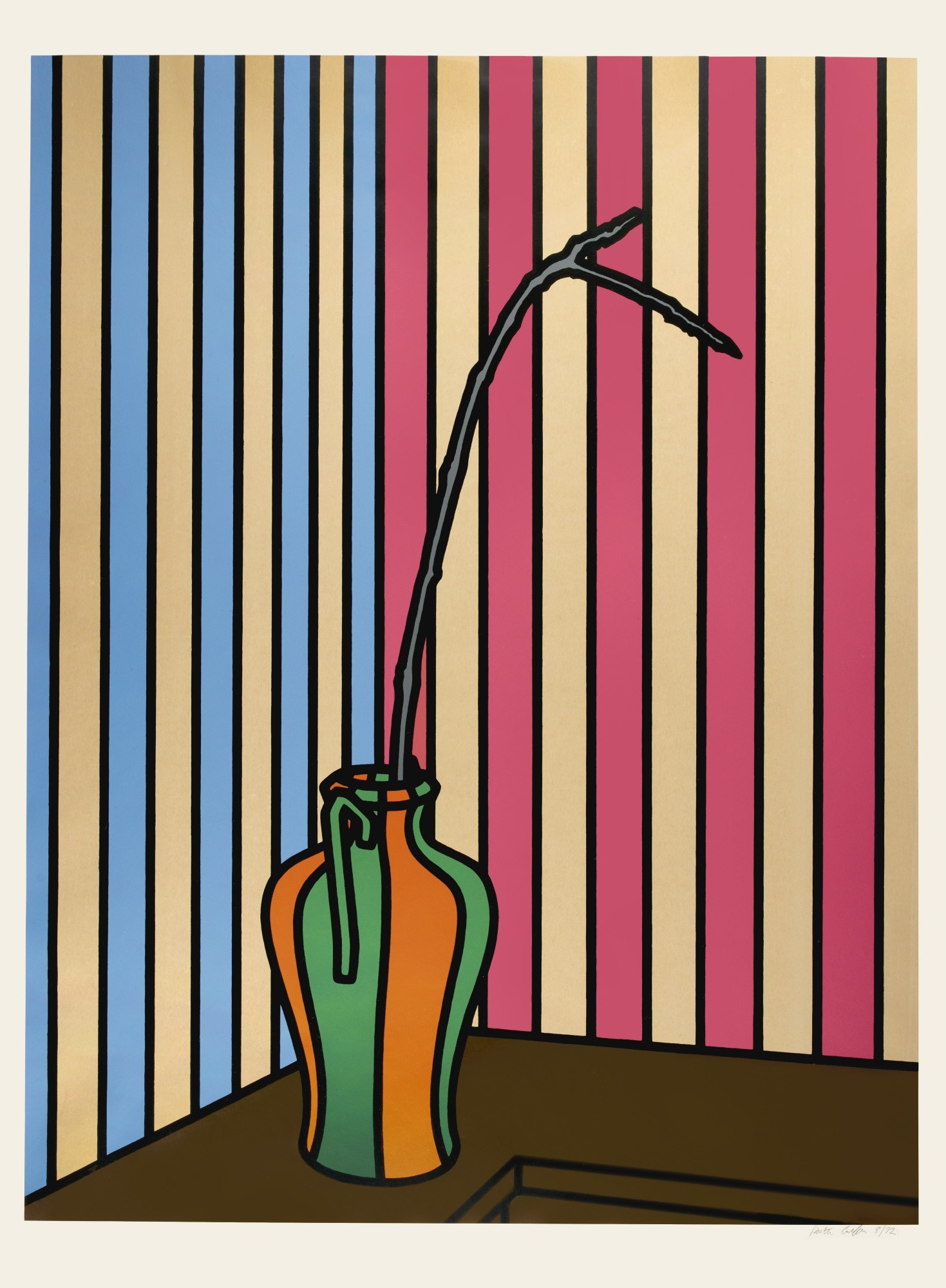 """<span class=""""link fancybox-details-link""""><a href=""""/artists/73-patrick-caulfield/works/990/"""">View Detail Page</a></span><div class=""""artist""""><strong>Patrick Caulfield</strong></div> 1936 - 2005 <div class=""""title""""><em>Fig Branch</em>, 1972</div> <div class=""""signed_and_dated"""">signed and dated<br /> from the edition of 72 with 15 proofs</div> <div class=""""medium"""">screenprint in colour</div> <div class=""""dimensions"""">100.3 x 74.5 cm</div> <div class=""""edition_details""""></div><div class=""""copyright_line"""">Copyright The Artist</div>"""