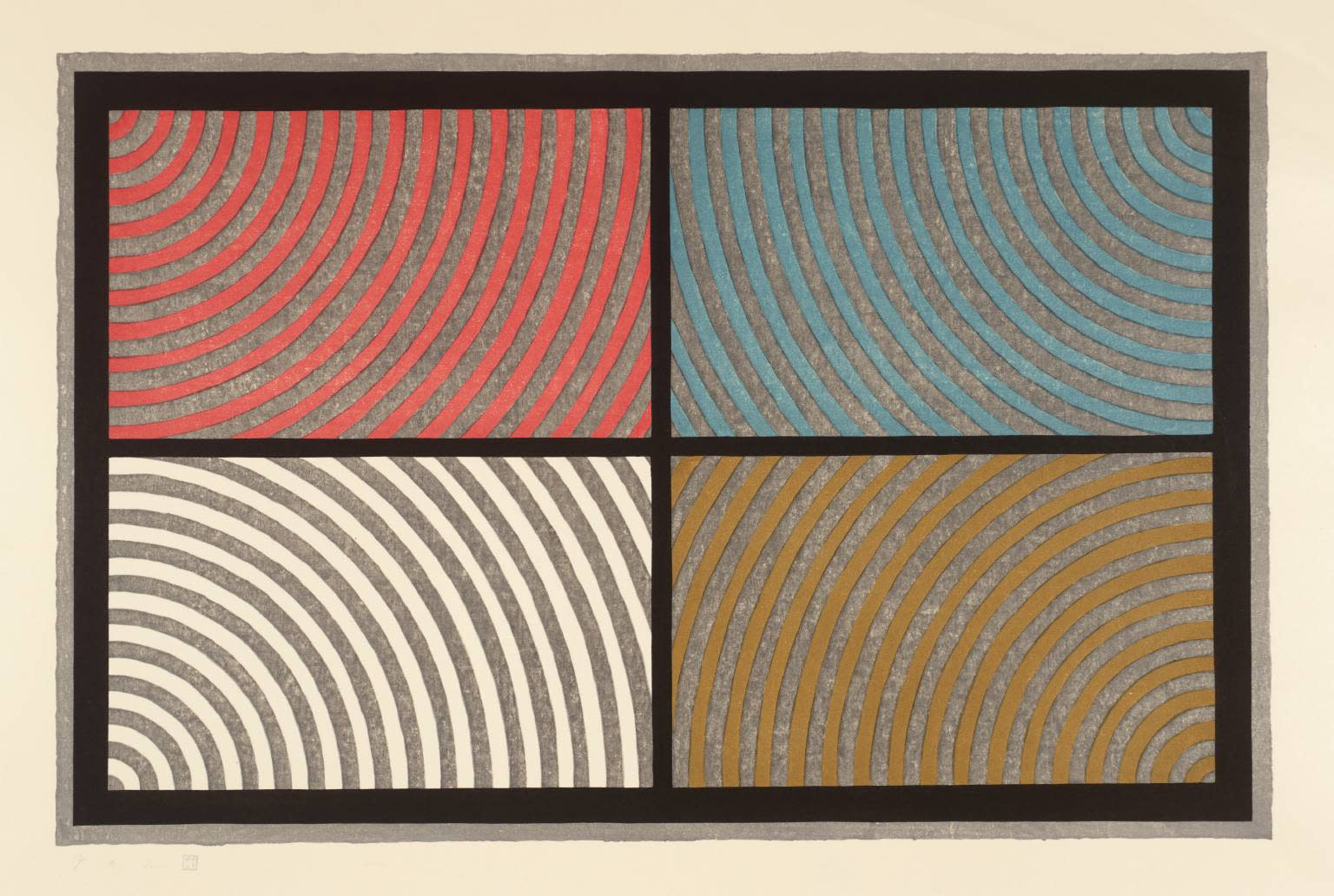 """<span class=""""link fancybox-details-link""""><a href=""""/artists/77-sol-lewitt/works/1028/"""">View Detail Page</a></span><div class=""""artist""""><strong>Sol LeWitt</strong></div> 1928-2007 <div class=""""title""""><em>Arcs from 4 Corners</em>, 1986</div> <div class=""""signed_and_dated"""">signed and numbered from the edition of 100</div> <div class=""""medium"""">wood-cut on Echizen Torinoko paper</div> <div class=""""dimensions"""">58 x 82.5cm</div><div class=""""copyright_line"""">Copyright The Artist</div>"""