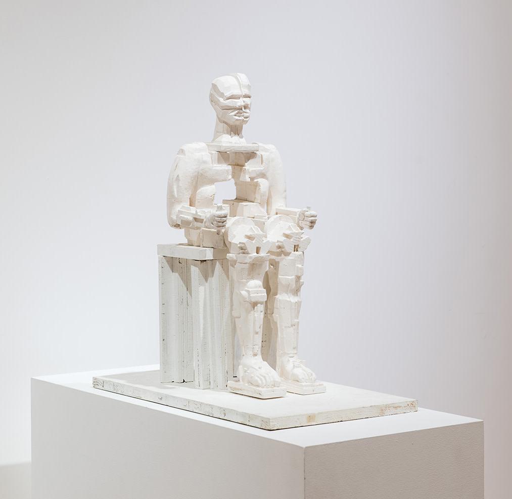 """<span class=""""link fancybox-details-link""""><a href=""""/artists/60-eduardo-paolozzi/works/459/"""">View Detail Page</a></span><div class=""""artist""""><strong>Eduardo Paolozzi</strong></div> 1924-2005 <div class=""""title""""><em>Faraday</em>, 2000</div> <div class=""""medium"""">Unique plaster maquette</div> <div class=""""dimensions"""">54 x 26 x 27cm</div><div class=""""copyright_line"""">Copyright The Artist</div>"""