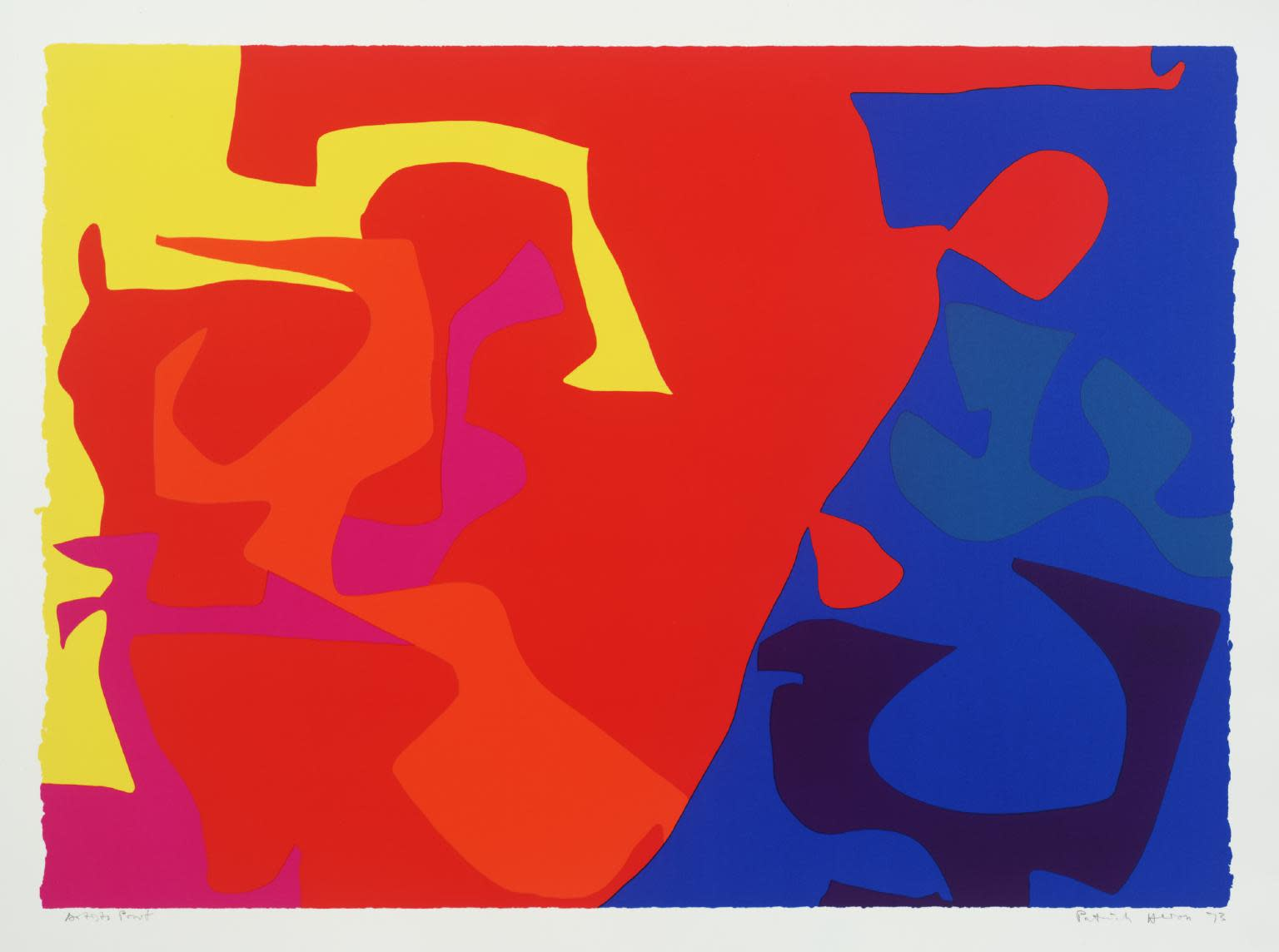 "<span class=""link fancybox-details-link""><a href=""/artists/74-patrick-heron/works/1008/"">View Detail Page</a></span><div class=""artist""><strong>Patrick Heron</strong></div> 1920 - 1999 <div class=""title""><em>January 1973: Plate 5</em>, 1973</div> <div class=""signed_and_dated"">signed and dated in pencil, verso is the publishers stamp<br /> from the edition of 72</div> <div class=""medium"">screenprint</div> <div class=""dimensions"">68 x 92.3cm</div>"