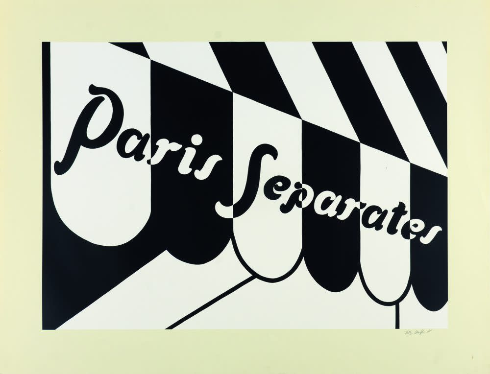 """<span class=""""link fancybox-details-link""""><a href=""""/artists/73-patrick-caulfield/works/1003/"""">View Detail Page</a></span><div class=""""artist""""><strong>Patrick Caulfield</strong></div> 1936 - 2005 <div class=""""title""""><em>Paris Separates</em>, 1973</div> <div class=""""signed_and_dated"""">signed in pencil<br /> from the edition of 75</div> <div class=""""medium"""">screenprint</div> <div class=""""dimensions"""">72.8 x 95cm</div>"""
