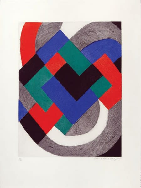 "<span class=""link fancybox-details-link""><a href=""/artists/39-sonia-delaunay/works/433/"">View Detail Page</a></span><div class=""artist""><strong>Sonia Delaunay</strong></div> 1885 - 1979 <div class=""title"">Untitled , 1969</div> <div class=""signed_and_dated"">signed and dated</div> <div class=""medium"">lithograph in colours</div> <div class=""dimensions"">29 7/8 x 22 1/8 in<br /> 76 x 56 cm</div> <div class=""edition_details"">30 of 100</div><div class=""copyright_line"">Copyright The Artist</div>"