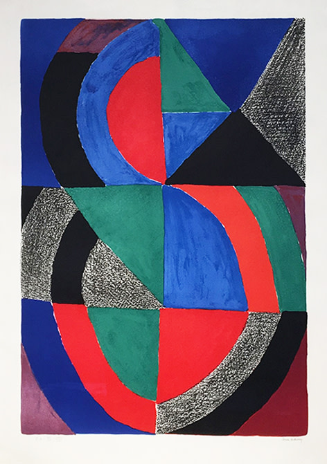 <span class=&#34;link fancybox-details-link&#34;><a href=&#34;/artists/39-sonia-delaunay/works/431/&#34;>View Detail Page</a></span><div class=&#34;artist&#34;><strong>Sonia Delaunay</strong></div> 1885 - 1979 <div class=&#34;title&#34;><em>Grande Icône</em>, c.1970</div> <div class=&#34;signed_and_dated&#34;>signed in pencil and inscribed EA</div> <div class=&#34;medium&#34;>lithograph on arches paper</div> <div class=&#34;dimensions&#34;>35 3/8 x 24 3/4 in<br /> 90 x 63 cm</div> <div class=&#34;edition_details&#34;>EA XV/XXV aside from an edition of 150</div><div class=&#34;price&#34;>£6,000.00</div><div class=&#34;copyright_line&#34;>Copyright The Artist</div>