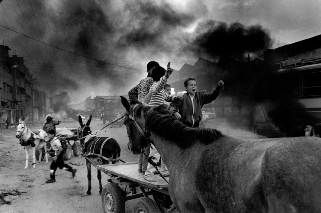 """<span class=""""link fancybox-details-link""""><a href=""""/artists/110-larry-towell/works/35056-larry-towell-gaza-city-1993/"""">View Detail Page</a></span><div class=""""artist""""><strong>Larry Towell</strong></div> b. 1953 <div class=""""title""""><em>Gaza City</em>, 1993</div> <div class=""""signed_and_dated"""">Signed, in pencil, au verso<br /> Printed circa 1993</div> <div class=""""medium"""">Gelatin silver print</div> <div class=""""dimensions"""">12 ¼ x 18 ½ inch (31.12 x 47.00 cm) image<br /> 15 ¾ x 19 ¾ inch (40.01 x 50.17 cm) paper</div> <div class=""""edition_details""""></div><div class=""""copyright_line"""">© Larry Towell / Magnum Photos</div>"""