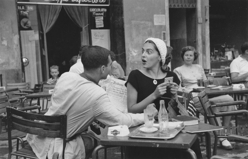 "<span class=""link fancybox-details-link""><a href=""/artists/67-ruth-orkin/works/16836-ruth-orkin-jinx-justin-at-cafe-florence-2-1951/"">View Detail Page</a></span><div class=""artist""><strong>Ruth Orkin</strong></div> 1921-1985 <div class=""title""><em>Jinx + Justin at Cafe, Florence (2)</em>, 1951</div> <div class=""signed_and_dated"">Artist's stamp, in ink, au verso </div> <div class=""medium"">Gelatin silver print</div> <div class=""dimensions"">4 x 6 ¼ inch (10.16 x 15.88 cm) image<br /> 5 x 7 inch (12.70 x 17.78 cm) paper</div><div class=""copyright_line"">© The Estate of Ruth Orkin</div>"
