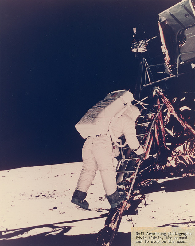 """<span class=""""link fancybox-details-link""""><a href=""""/exhibitions/36/works/artworks34601/"""">View Detail Page</a></span><div class=""""signed_and_dated"""">Captioned """"Neil Armstrong photographs Edwin Aldrin, the second man to step on the moon."""", in ink, on label, adhered, au recto<br /> Annotated, with General Electric Photography Lab stamp, in ink, au verso<br /> Photo ID A90360-2<br /> Printed circa 1970 from official NASA copy negative</div> <div class=""""medium"""">Chromogenic print</div> <div class=""""dimensions"""">7 ½ x 9 ½ inch (19.05 x 24.13 cm) image<br /> 8 x 10 inch (20.32 x 25.40 cm) paper</div>"""