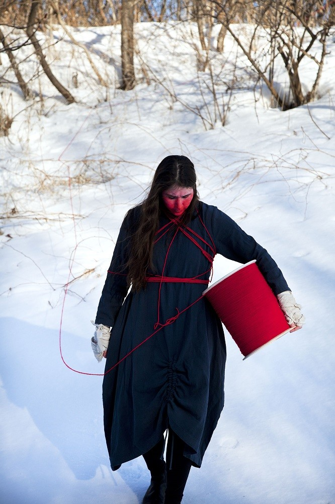 "<span class=""link fancybox-details-link""><a href=""/artists/122/series/wanderings/32475-meryl-mcmaster-equinoctial-line-2015/"">View Detail Page</a></span><div class=""artist""><strong>Meryl McMaster</strong></div> b. 1988 <div class=""title""><em>Equinoctial Line</em>, 2015</div> <div class=""signed_and_dated"">From the series ""Wanderings""<br /> Signed, titled, dated, and editioned, au verso</div> <div class=""medium"">Pigment print on archival watercolour paper</div> <div class=""dimensions"">45 x 30 inch (114.3 x 76.2 cm)</div> <div class=""edition_details"">Edition of 3 + 2 APs</div><div class=""copyright_line""> </div>"