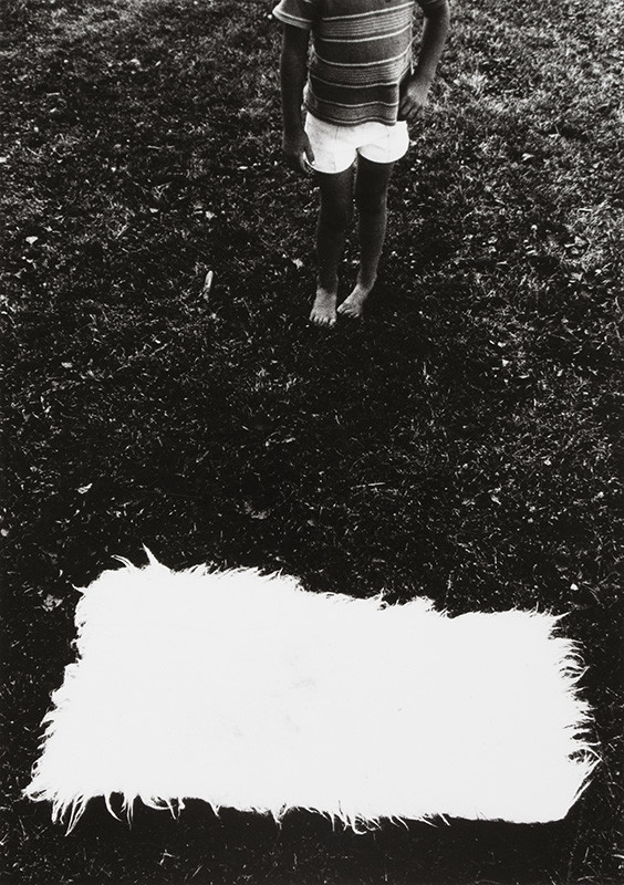 """<span class=""""link fancybox-details-link""""><a href=""""/artists/110-larry-towell/works/34999-larry-towell-untitled-boy-and-white-rectangle-1974/"""">View Detail Page</a></span><div class=""""artist""""><strong>Larry Towell</strong></div> b. 1953 <div class=""""title""""><em>Untitled [Boy and white rectangle]</em>, 1974</div> <div class=""""signed_and_dated"""">Signed, in pencil, au verso<br /> Printed circa 1974</div> <div class=""""medium"""">Gelatin silver print</div> <div class=""""dimensions"""">5 ¼ x 7 ¼ inch (13.34 x 18.42 cm) image<br /> 7 ¾ x 9 ¾ inch (19.69 x 24.77 cm) paper</div> <div class=""""edition_details""""></div><div class=""""copyright_line"""">© Larry Towell / Magnum Photos</div>"""