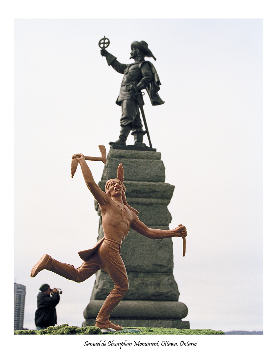 """<span class=""""link fancybox-details-link""""><a href=""""/artists/112-jeff-thomas/works/34227-jeff-thomas-buffalo-dancer-at-the-samuel-de-champlain-monument-2003/"""">View Detail Page</a></span><div class=""""artist""""><strong>Jeff Thomas</strong></div> <div class=""""title""""><em>Buffalo Dancer at the Samuel de Champlain Monument, Ottawa, #4</em>, 2003</div> <div class=""""signed_and_dated"""">From the series """"Indians on Tour""""<br /> Signed, au verso</div> <div class=""""medium"""">Pigment print on archival paper</div> <div class=""""edition_details"""">Edition of 15</div><div class=""""copyright_line""""> </div>"""