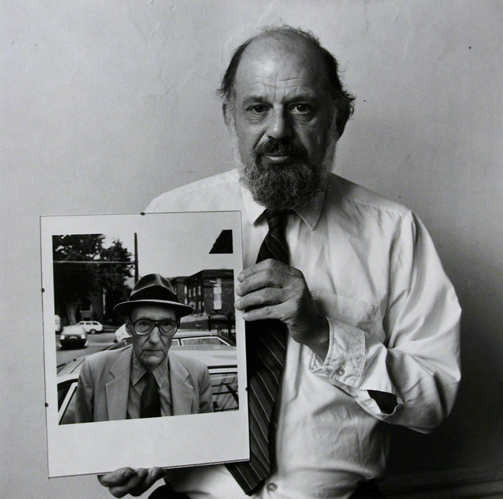 """<span class=""""link fancybox-details-link""""><a href=""""/artists/70-robert-giard/works/20435-robert-giard-allen-ginsberg-with-his-own-portrait-of-burroughs-1986/"""">View Detail Page</a></span><div class=""""artist""""><strong>Robert Giard</strong></div> 1939-2002 <div class=""""title""""><em>Allen Ginsberg with his own portrait of Burroughs</em>, 1986</div> <div class=""""signed_and_dated"""">Estate Accession #0370 i [GLW]</div> <div class=""""medium"""">Gelatin silver print</div> <div class=""""dimensions"""">14 ¼ x 14 ¼ inch (36.20 x 36.20 cm) image<br /> 16 x 20 inch (35.56 x 50.80 cm) paper</div> <div class=""""edition_details""""></div><div class=""""copyright_line"""">© The Estate of Robert Giard</div>"""