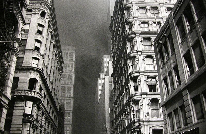 """<span class=""""link fancybox-details-link""""><a href=""""/artists/110/series/september-11%2C-2001%2C-nyc/14253-larry-towell-new-york-city-light-reflecting-off-windows-2001/"""">View Detail Page</a></span><div class=""""artist""""><strong>Larry Towell</strong></div> b. 1953 <div class=""""title""""><em>New York City [light reflecting off windows]</em>, 2001</div> <div class=""""signed_and_dated"""">Signed, titled, and dated, in pencil, au verso<br /> Printed in 2003</div> <div class=""""medium"""">Gelatin silver print</div> <div class=""""dimensions"""">16 x 20 inch (40.64 x 50.8 cm)</div> <div class=""""edition_details""""></div><div class=""""copyright_line"""">© Larry Towell / Magnum Photos</div>"""