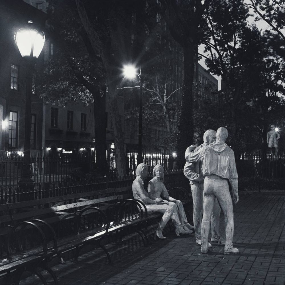 """<span class=""""link fancybox-details-link""""><a href=""""/artists/70-robert-giard/works/34811-robert-giard-sheridan-square-george-segal-sculptures-nyc-gay-liberation/"""">View Detail Page</a></span><div class=""""artist""""><strong>Robert Giard</strong></div> 1939-2002 <div class=""""title""""><em>Sheridan Square, George Segal Sculptures, NYC, """"Gay Liberation""""</em></div> <div class=""""signed_and_dated"""">Annotated, in pencil, au verso<br /> Estate Accession #0015c [GS]<br /> Provenance: Direct from the Estate of Robert Giard, New York</div> <div class=""""medium"""">Gelatin silver print</div> <div class=""""dimensions"""">14 ⅛ x 14 ⅛ inch (35.88 x 35.88 cm) image<br /> 19 ¾ x 15 ⅞ inch (50.17 x 40.32 cm) paper</div> <div class=""""edition_details""""></div>"""
