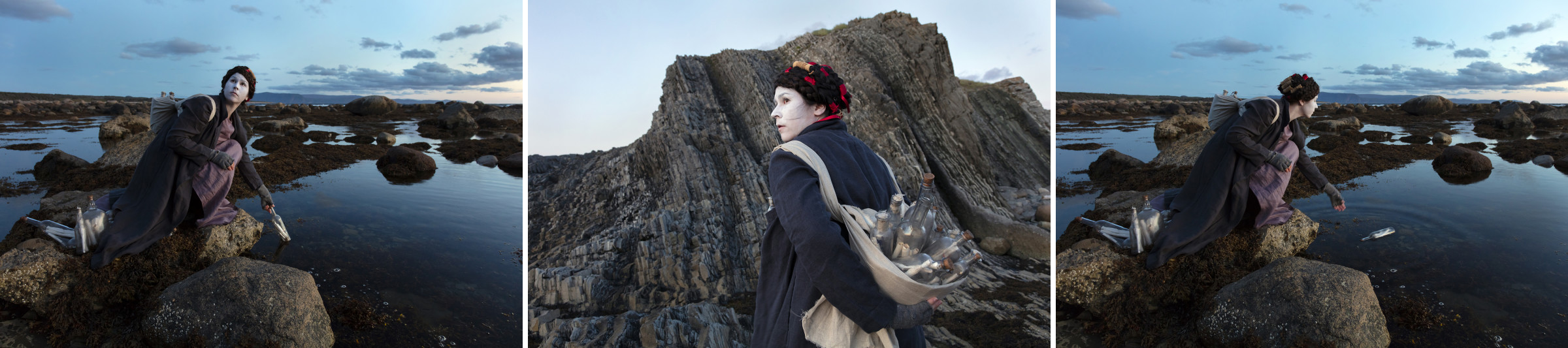 "<span class=""link fancybox-details-link""><a href=""/artists/122/series/as-immense-as-the-sky/34382-meryl-mcmaster-ordovician-tide-2019/"">View Detail Page</a></span><div class=""artist""><strong>Meryl McMaster</strong></div> b. 1988 <div class=""title""><em>Ordovician Tide</em>, 2019</div> <div class=""signed_and_dated"">From the series ""As Immense as the Sky""<br /> Signed, titled, dated, and editioned, au mount verso</div> <div class=""medium"">Set of three Chromogenic prints flush mounted to Aluminum Composite Panel</div> <div class=""dimensions"">Each 40 x 60 inch (101.60 x 152.40 cm)</div> <div class=""edition_details"">Edition of 5 + 2 APs</div>"