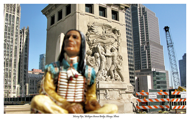 """<span class=""""link fancybox-details-link""""><a href=""""/artists/112-jeff-thomas/works/34124-jeff-thomas-no-pipe-michigan-avenue-bridge-chicago-illinois-june-3-2009/"""">View Detail Page</a></span><div class=""""artist""""><strong>Jeff Thomas</strong></div> b. 1956 <div class=""""title""""><em>No Pipe, Michigan Avenue Bridge, Chicago, Illinois</em>, June 3, 2009</div> <div class=""""signed_and_dated"""">From the series """"Indians on Tour"""" Signed, au verso</div> <div class=""""medium"""">Pigment print on archival paper</div> <div class=""""edition_details"""">Edition of 15</div>"""
