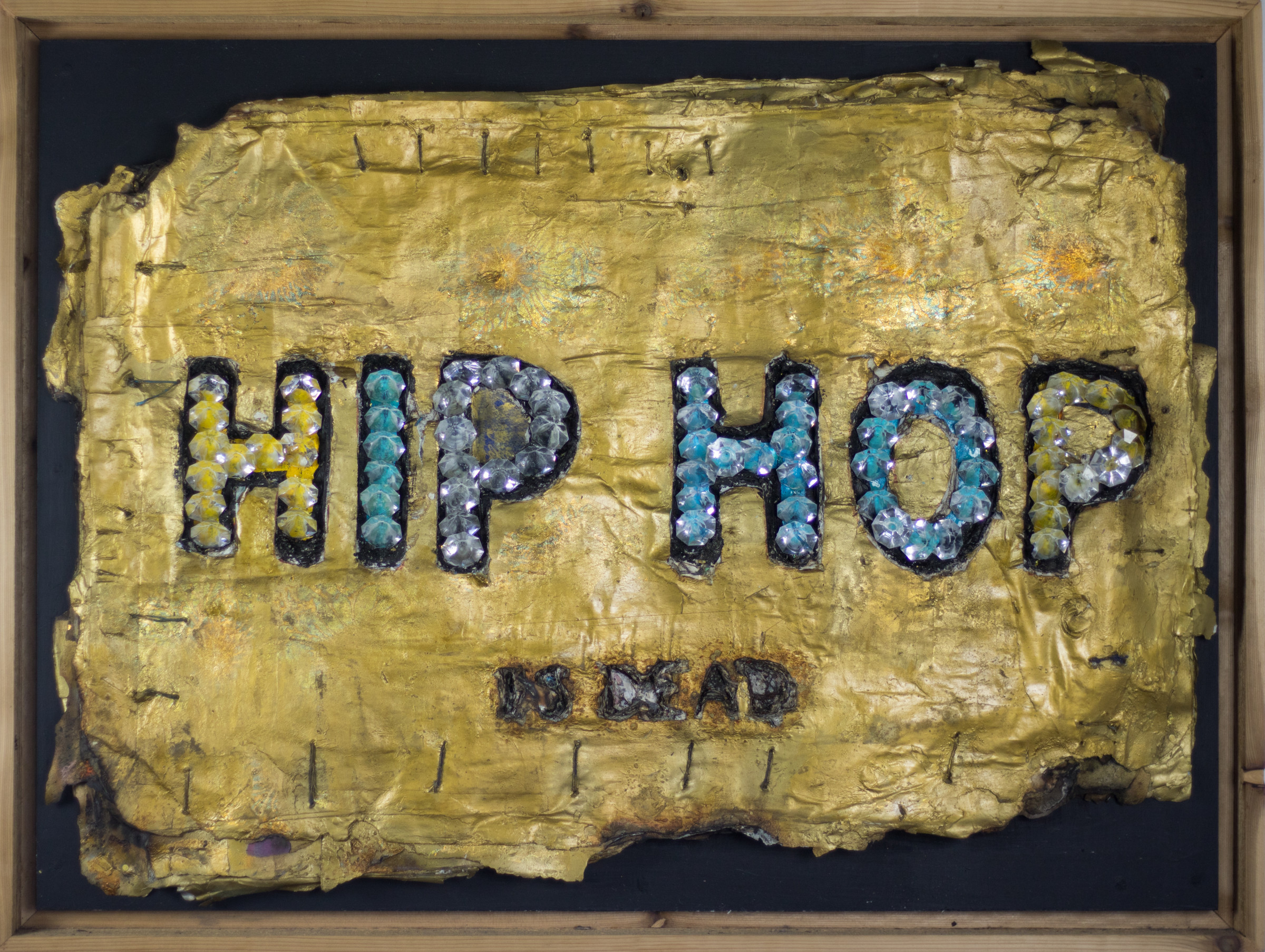 <span class=&#34;link fancybox-details-link&#34;><a href=&#34;/artworks/81-robert-hodge-hip-hop-is-dead-2015/&#34;>View Detail Page</a></span><div class=&#34;artist&#34;><strong>Robert Hodge</strong></div> <div class=&#34;title&#34;><em>Hip Hop is Dead</em>, 2015</div> <div class=&#34;medium&#34;>Acrylic, gold leaf, spray paint, acrylic diamonds and hemp thread on reclaimed paper</div> <div class=&#34;dimensions&#34;>31 x 42 in<br /> 78.7 x 106.7 cm</div><div class=&#34;price&#34;>$5,200.00</div><div class=&#34;copyright_line&#34;>Copyright The Artist</div>