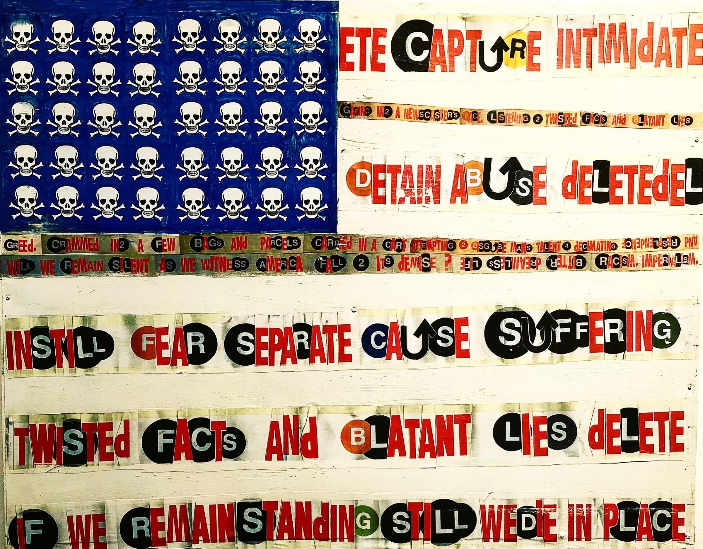 <span class=&#34;link fancybox-details-link&#34;><a href=&#34;/artworks/185-al-diaz-flag-2018/&#34;>View Detail Page</a></span><div class=&#34;artist&#34;><strong>Al Diaz</strong></div> <div class=&#34;title&#34;><em>Flag</em>, 2018</div> <div class=&#34;medium&#34;>Mixed Media on Sheet Metal</div> <div class=&#34;dimensions&#34;>36 x 48 in<br /> 91.4 x 121.9 cm</div>
