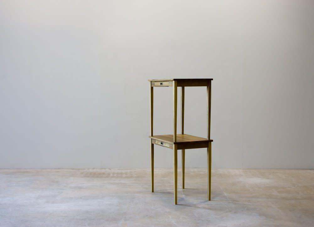 <span class=&#34;link fancybox-details-link&#34;><a href=&#34;/exhibitions/28/works/artworks3681/&#34;>View Detail Page</a></span><div class=&#34;artist&#34;><strong>Richard Rigg</strong></div><div class=&#34;title&#34;><em>Two Writing Desks, False Drawer</em>, 2009</div><div class=&#34;medium&#34;>Wood, brass, adhesive</div><div class=&#34;dimensions&#34;>148 x 73 x 56 cm<br>58 1/4 x 28 3/4 x 22 1/8 in</div>