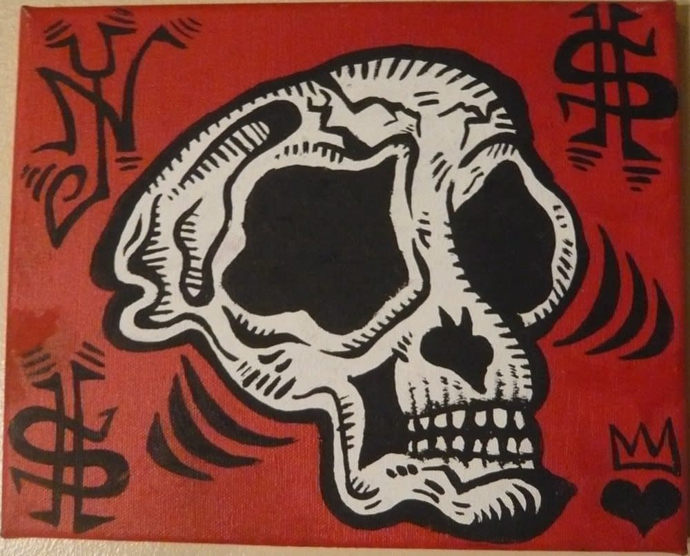 "<span class=""link fancybox-details-link""><a href=""/artists/50-damon-johnson/works/2063/"">View Detail Page</a></span><div class=""artist""><strong>Damon Johnson</strong></div> <div class=""title""><em>Monkey Skull</em>, 2008</div> <div class=""medium"">Acrylic on canvas</div><div class=""copyright_line"">Copyright The Artist</div>"