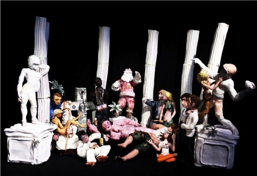 """<span class=""""link fancybox-details-link""""><a href=""""/artists/35/series/puppets/855/"""">View Detail Page</a></span><div class=""""artist""""><strong>Joffrey Jans & Christophe Lopez-Huici</strong></div> <div class=""""title""""><em>les américains de la decadance</em>, 2005</div> <div class=""""medium"""">C-Print</div> <div class=""""dimensions"""">48 x 69.4 in, 121.9 xx 176.3 cmz</div> <div class=""""edition_details"""">edition of 4 plus 1 artist's proof</div><div class=""""copyright_line"""">Copyright The Artist</div>"""